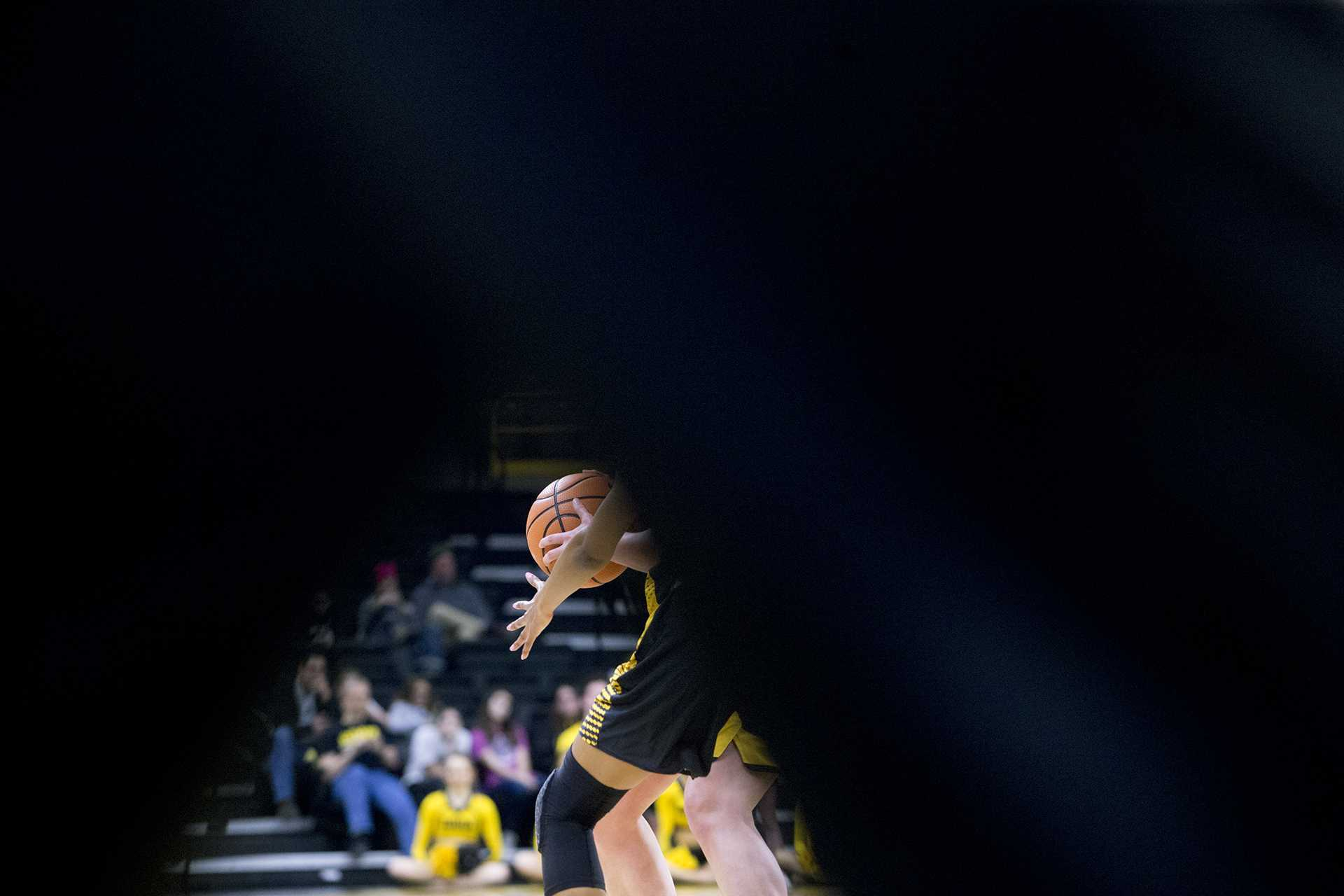 An Iowa player guards the ball during the Iowa/Arkansas-Pine Bluff basketball game in Carver-Hawkeye Arena on Saturday, Dec. 9, 2017. The Hawkeyes defeated the Golden Lions, 85-45. (Lily Smith/The Daily Iowan)