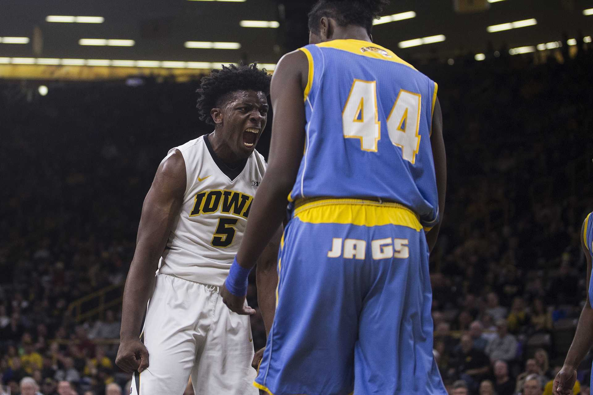 Iowa guard Tyler Cook (5) celebrates a slam dunk during the game between Iowa and Southern at Carver-Hawkeye Arena on Sunday, Dec. 10. Iowa went on to defeat Southern 91-60. (Ben Allan Smith/The Daily Iowan)