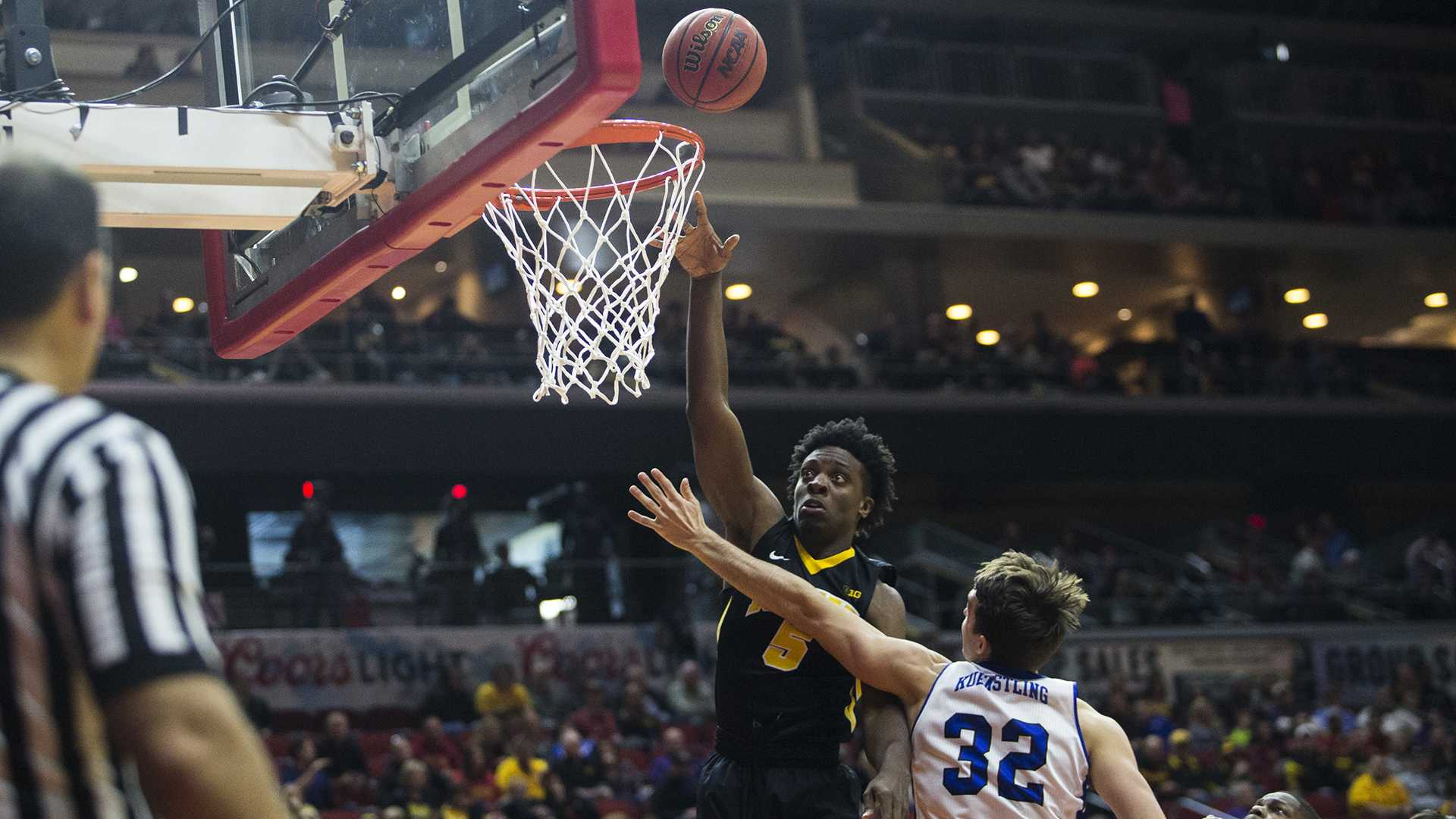 Iowa's Tyler Cook (5) shoots the ball over Drake's Kory Kuenstling (32) during the Hy-Vee Classic men's basketball tournament at Wells Fargo Arena in Des Moines on Saturday, Dec. 16, 2017. The Hawkeyes beat the Bulldogs 90-64. (Ben Allan Smith/The Daily Iowan)
