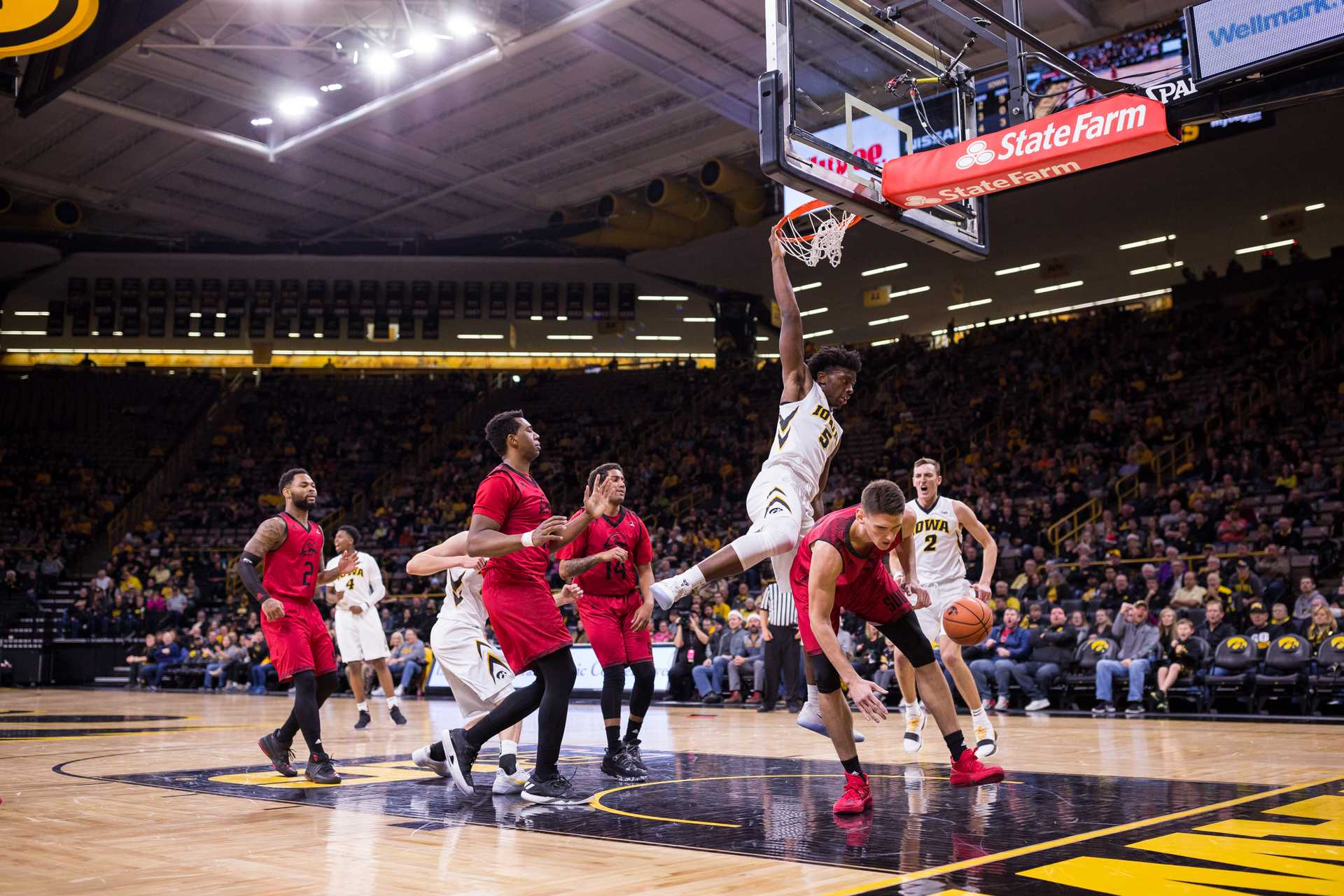 Iowa forward Tyler Cook slams down a dunk against Southern Utah University during the first half of a basketball game at Carver-Hawkeye Arena on Tuesday, Dec. 19, 2017. The Hawkeyes defeated the Thunderbirds 92-64. (David Harmantas/The Daily Iowan)