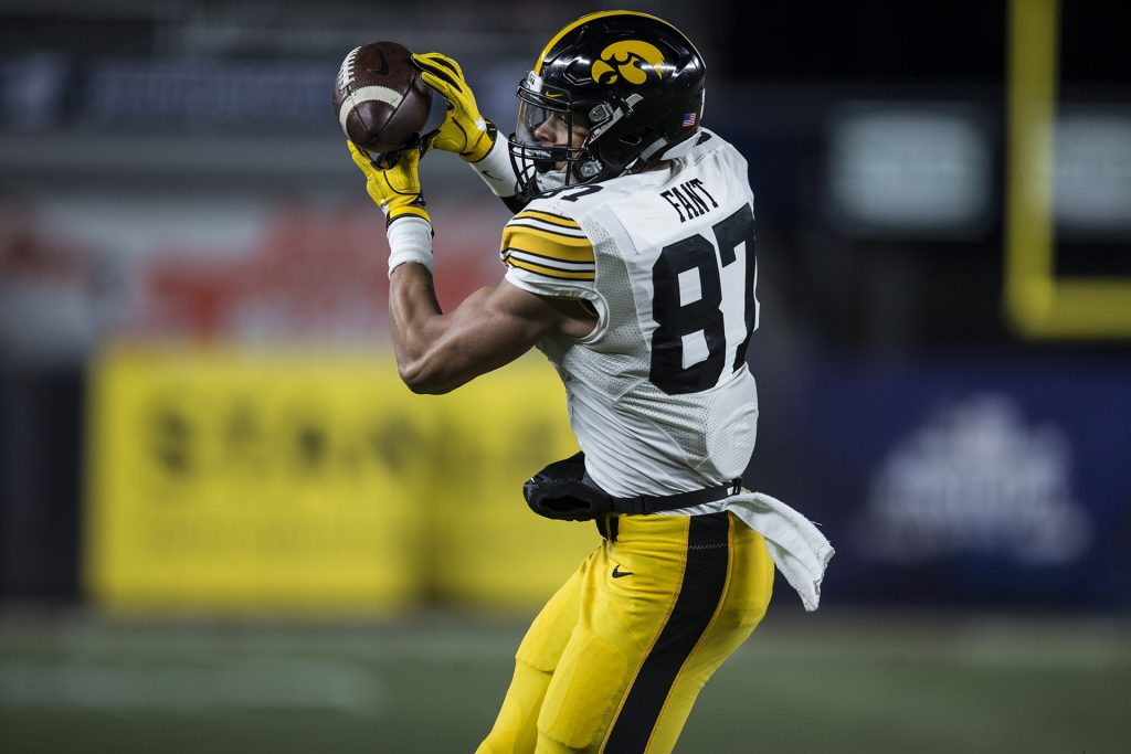 Iowa tight end Noah Fant (87) catches a touchdown pass during the New Era Pinstripe Bowl at Yankee Stadium in New York on Wednesday, Dec. 27. The Hawkeyes went on to win 27-20. (