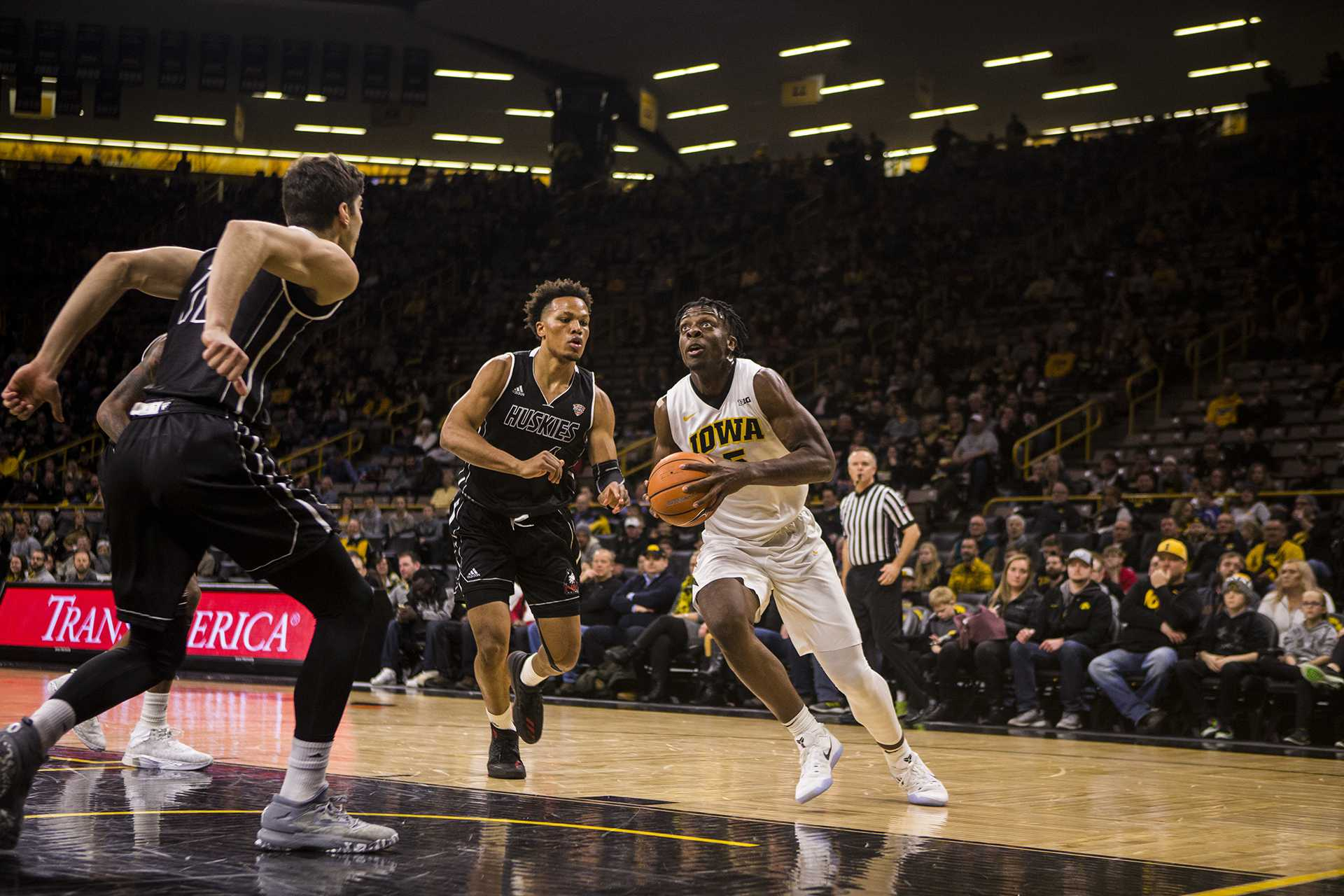 Iowa forward Tyler Cook drives the ball during Iowa's game against Northern Illinois on Friday Dec. 29, 2017. The Hawkeyes defeated the Huskies 98 to 75. (Nick Rohlman/The Daily Iowan)