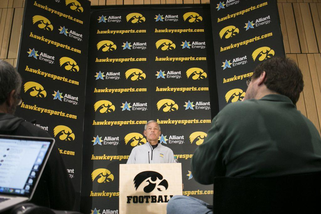 Iowa+head+coach+Kirk+Ferentz+speaks+with+members+of+the+media+during+a+media+availability+in+the+Hansen+Football+Performance+Center+on+Sunday%2C+Dec.+3%2C+2017.+The+Hawkeyes+accepted+an+invitation+to+play+Boston+College+at+the+New+Era+Pinstripe+Bowl+in+New+York+City+on+Wednesday%2C+Dec.+27.+%28Joseph+Cress%2FThe+Daily+Iowan%29