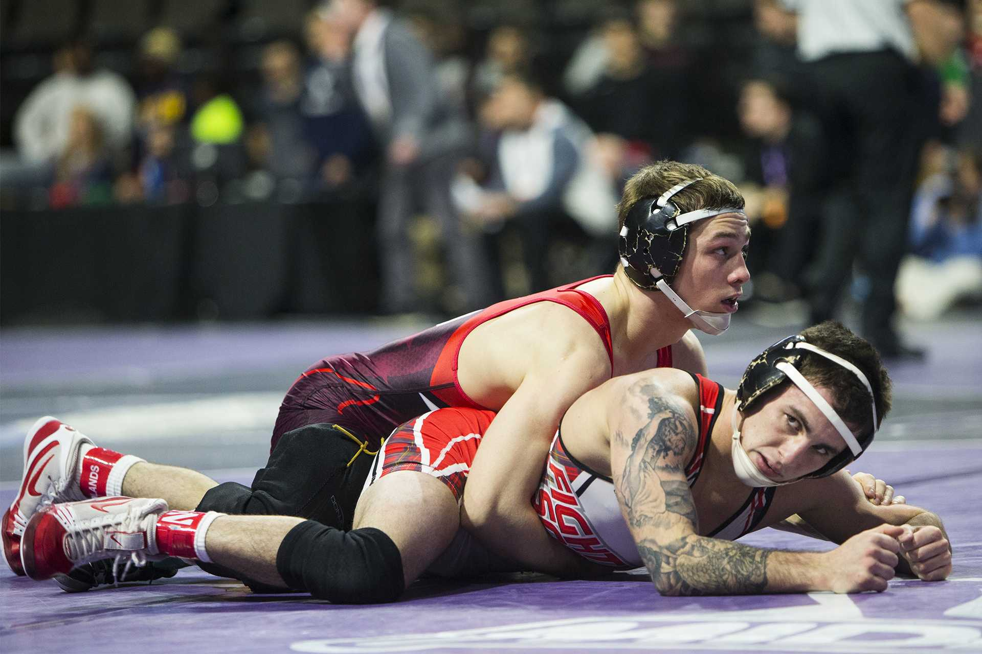 Iowa's 125 pound Spencer Lee wrestles during the second session of the 55th Annual Midlands Championships in the Sears Centre in Hoffman Estates, Illinois, on Friday, Dec. 29, 2017. (Joseph Cress/The Daily Iowan)