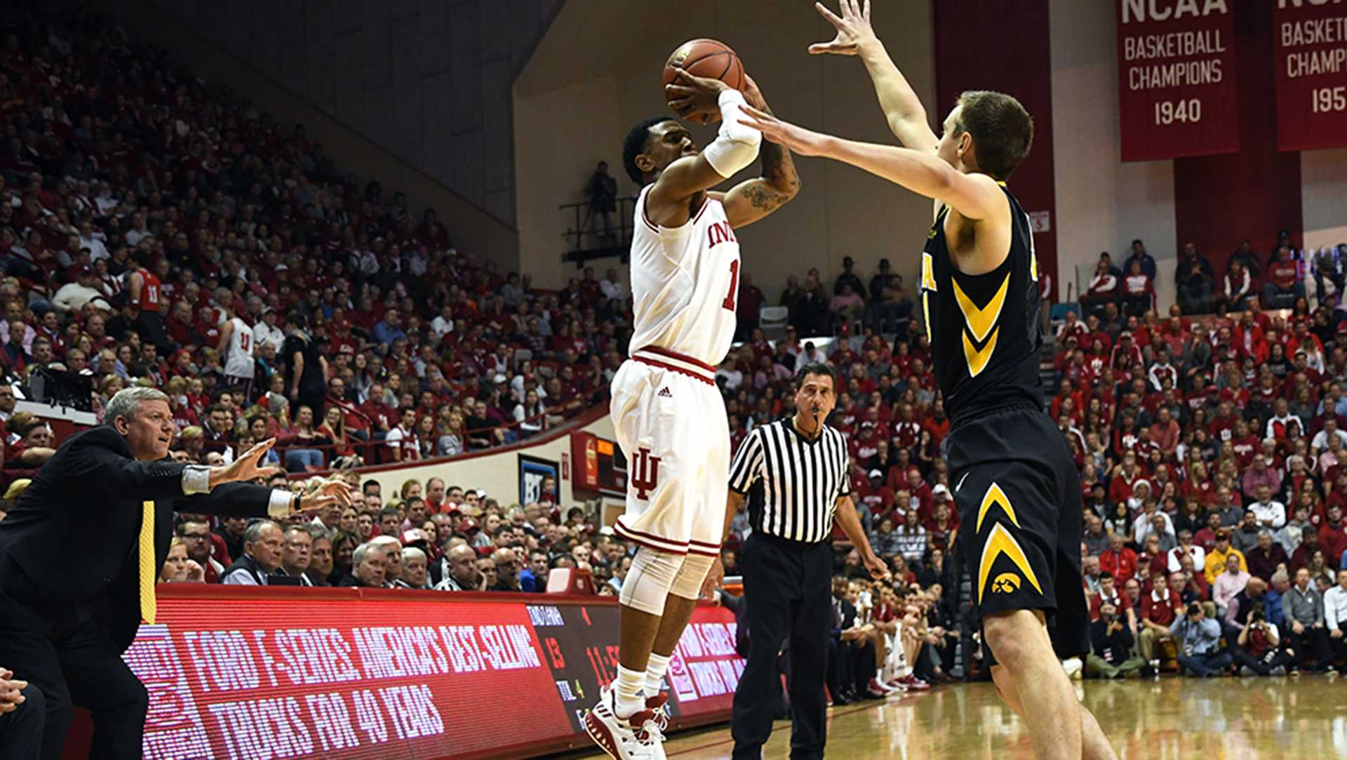 Sophomore guard Devonte Green takes a shot against Iowa Monday evening in Simon Skjodt Assembly Hall. Green had 12 points and four assists in IU's 77-64 win against Iowa. (Bobby Goddin/Indiana Daily Student)