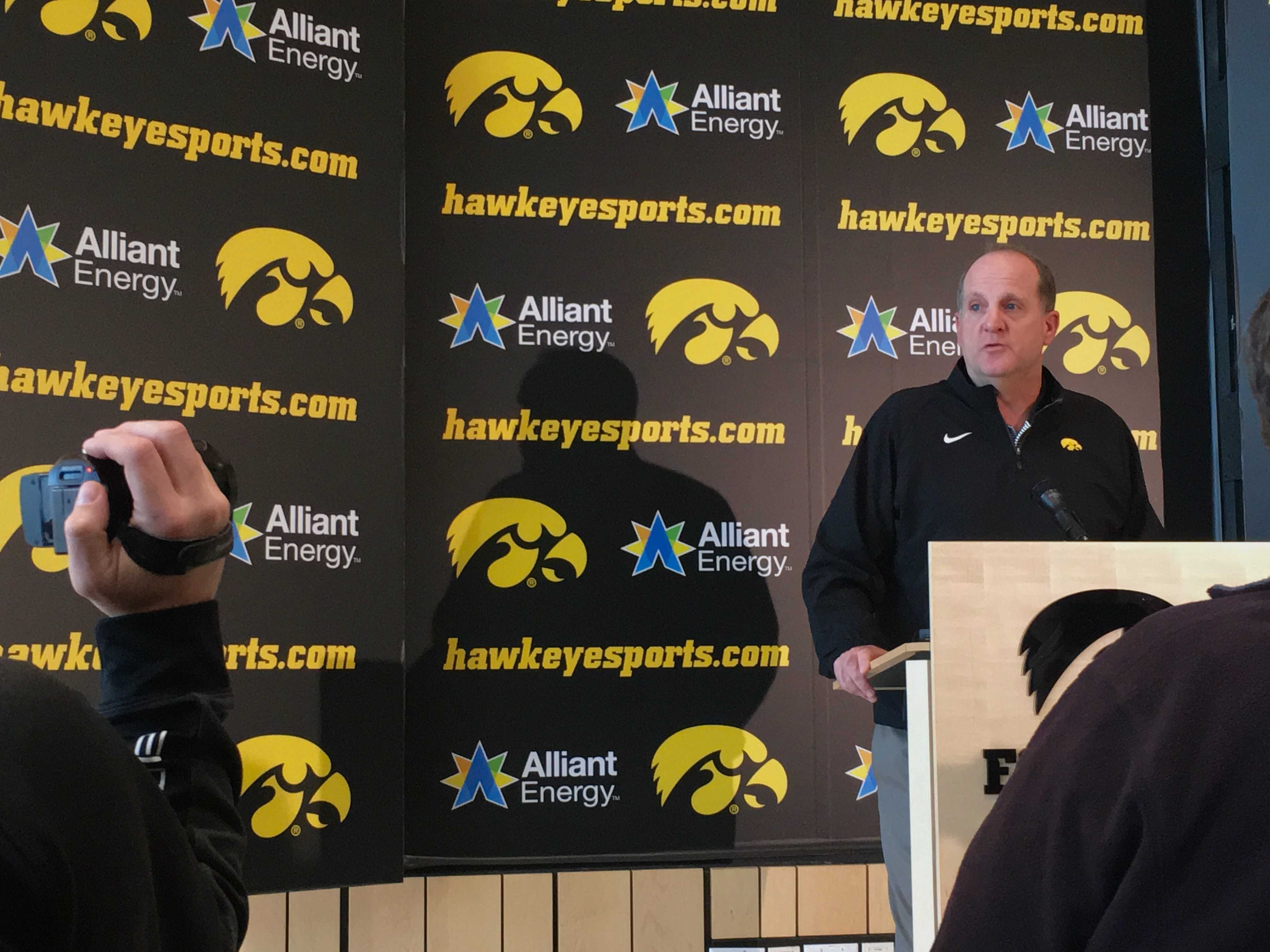 Iowa defensive coordinator Phil Parker addresses the media on Monday, December 18th. The Hawkeyes take on Boston College in the Pinstripe Bowl on Dec. 27 in New York City at 4:15 p.m. (The Daily Iowan/Adam Hensley)