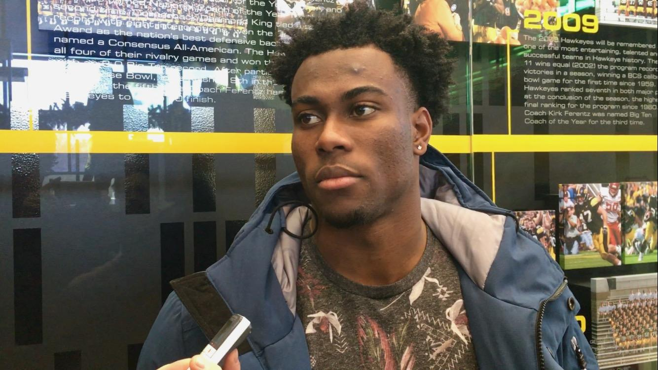 Iowa cornerback Josh Jackson speaks with members of the media on December 29, 2017. Jackson said he will announce his decision on whether or not to go pro or stay for his senior year after the Pinstripe Bowl on Dec. 27. (Adam Hensley/The Daily Iowan)