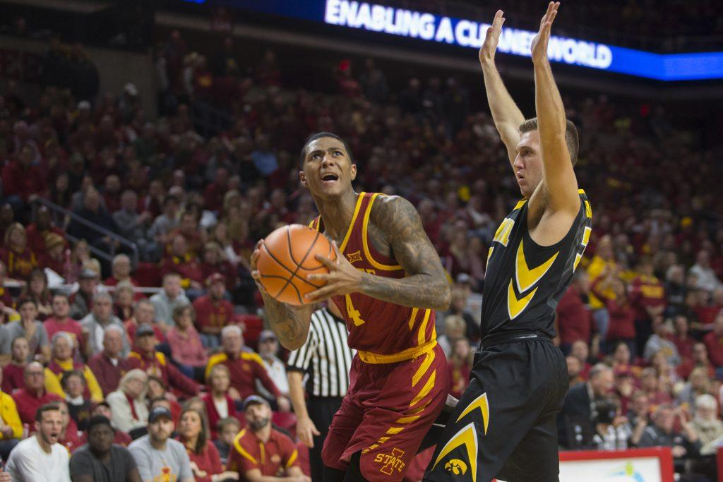 Iowa%27s+Jordan+Bohannon+guards+Iowa+State%27s+Donovan+Jackson+during+the+Iowa+Corn+CyHawk+Series+men%27s+basketball+game+at+Hilton+Coliseum+in+Ames+on+Thursday%2C+Dec.+7%2C+2017.+The+Cyclones+defeated+the+Hawkeyes%2C+84-78.+%28Lily+Smith%2FThe+Daily+Iowan%29