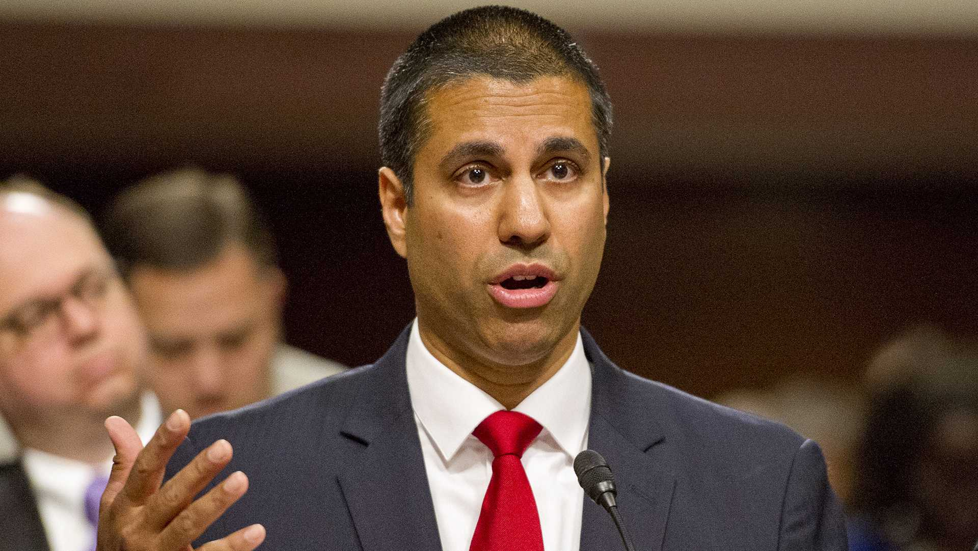 Federal Communications Commission Chairman Ajit Varadaraj Pai testifies on Wednesday, July 19, 2017 before the U.S. Senate Committee on Commerce, Science, and Transportation on Capitol Hill in Washington, D.C. (Ron Sachs/CNP/Zuma Press/TNS)