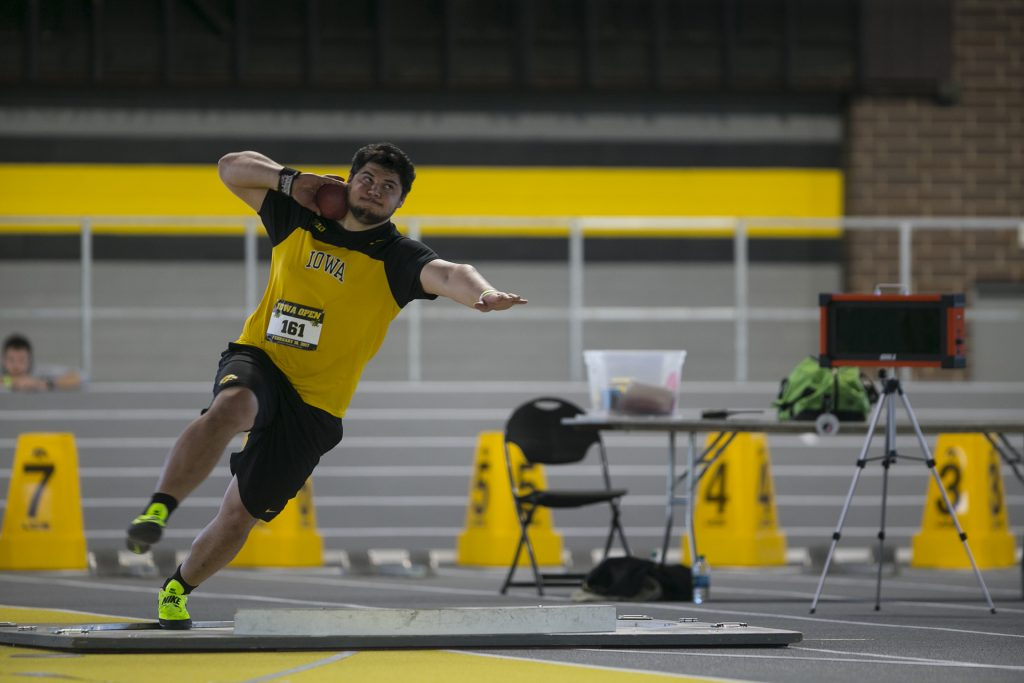 Iowa's Reno Tuufuli competes during an event in the Iowa Recreation building on Saturday, Feb. 18, 2017. The Hawkeyes competed against the Panthers during the Iowa Open. (The Daily Iowan/Joseph Cress)