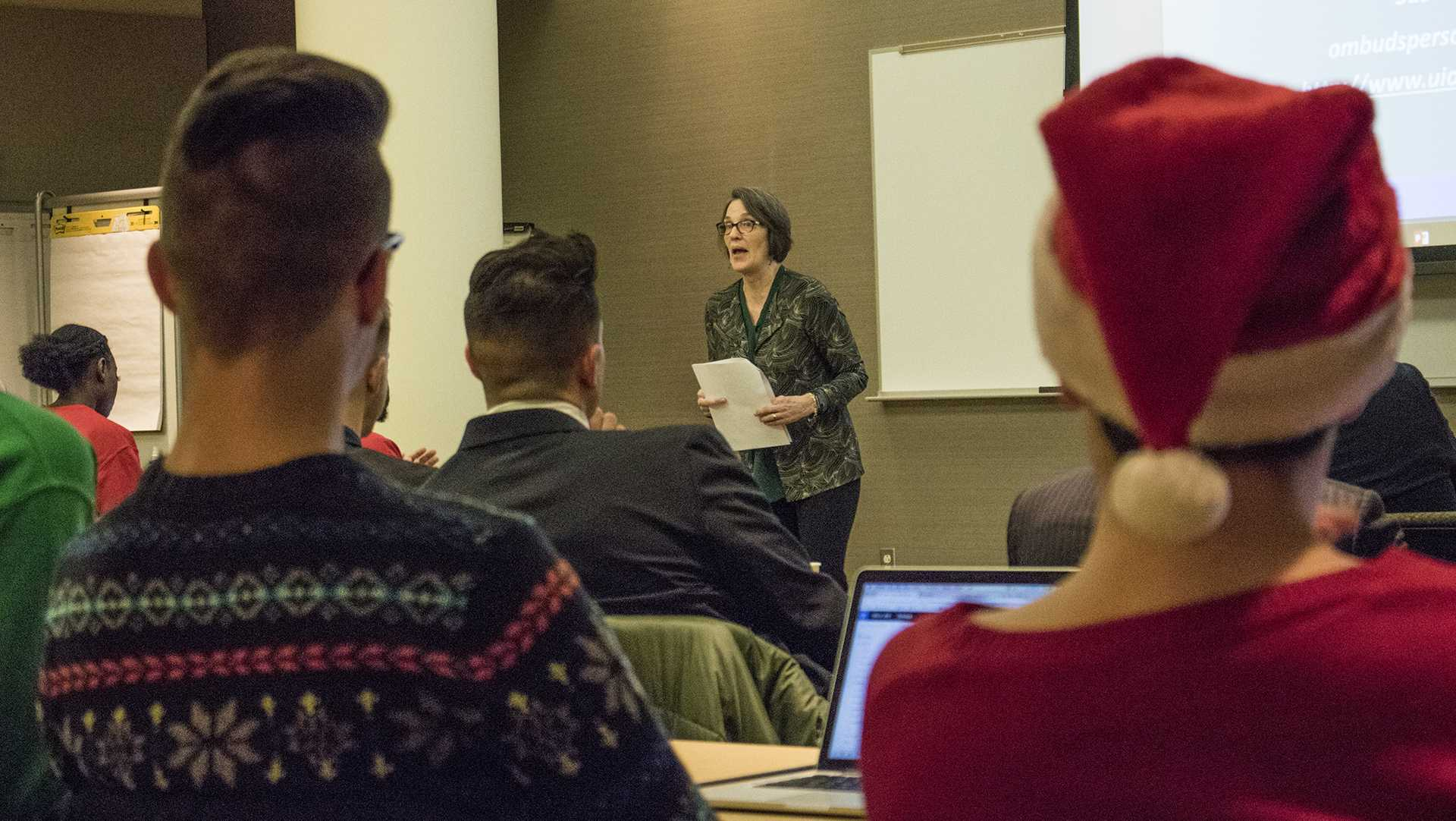 Senators hear a presentation at a UISG meeting on Tuesday, Dec. 5, 2017. UISG voted on adding independent senators to make elections more accessible. (Shivansh Ahuja/The Daily Iowan)