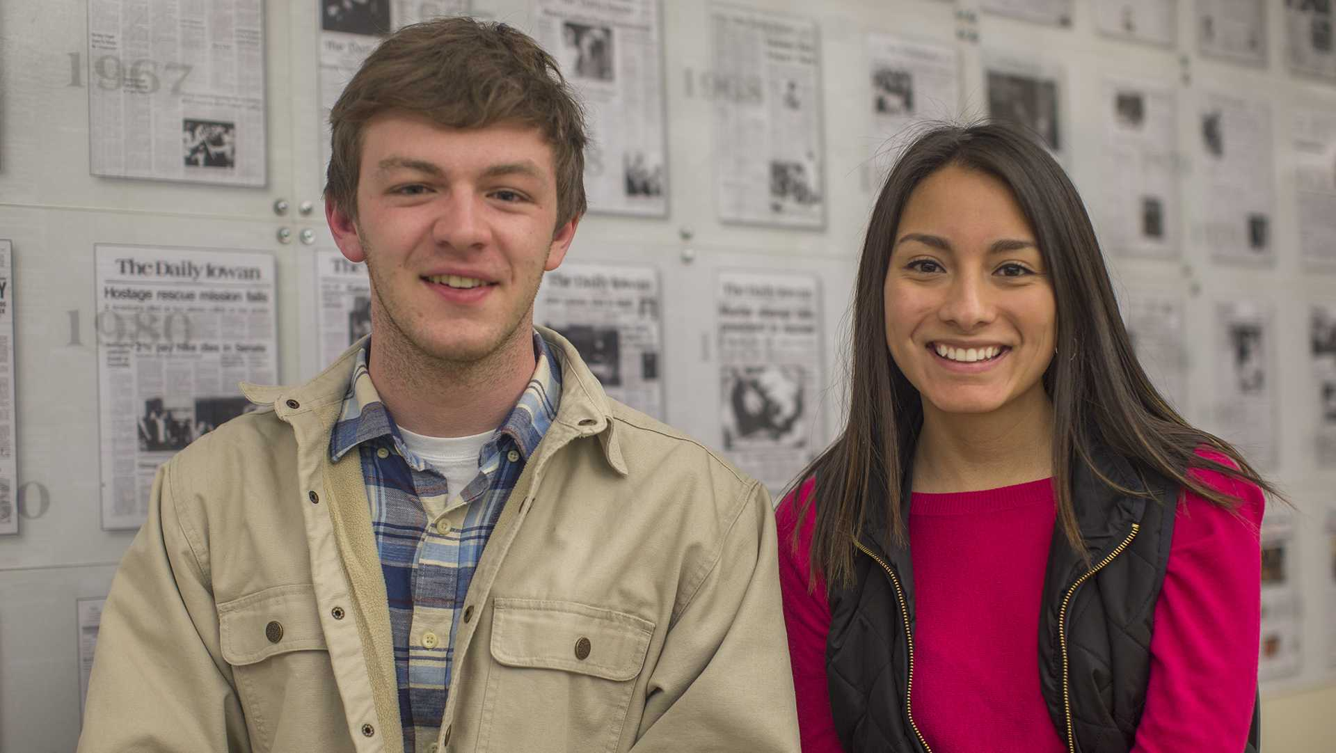 UISG President Jacob Simpson and Vice President Lilián Sánchez pose for a portrait in the Iowa City Daily Iowan Newsroom on Friday, Dec. 1, 2017. (Lily Smith/The Daily Iowan)