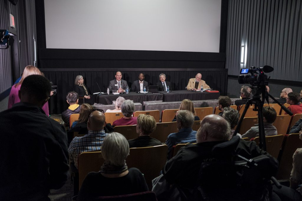 Mayors+Ron+Corbett+of+Cedar+Rapids%2C+Quentin+Hart+of+Waterloo%2C+Paul+Soglin+of+Madison%2C+Wisconsin%2C+and+Jim+Throgmorton+of+Iowa+City+speak+during+a+panel+at+Film+Scene+in+Iowa+City+on+Friday%2C+Dec.+1%2C+2017.+The+mayors+addressed+issues+including+housing%2C+transportation%2C+and+job+creation+and+how+their+cities+have+worked+to+meet+the+needs+of+their+residents.+%28Nick+Rohlman%2FThe+Daily+Iowan%29