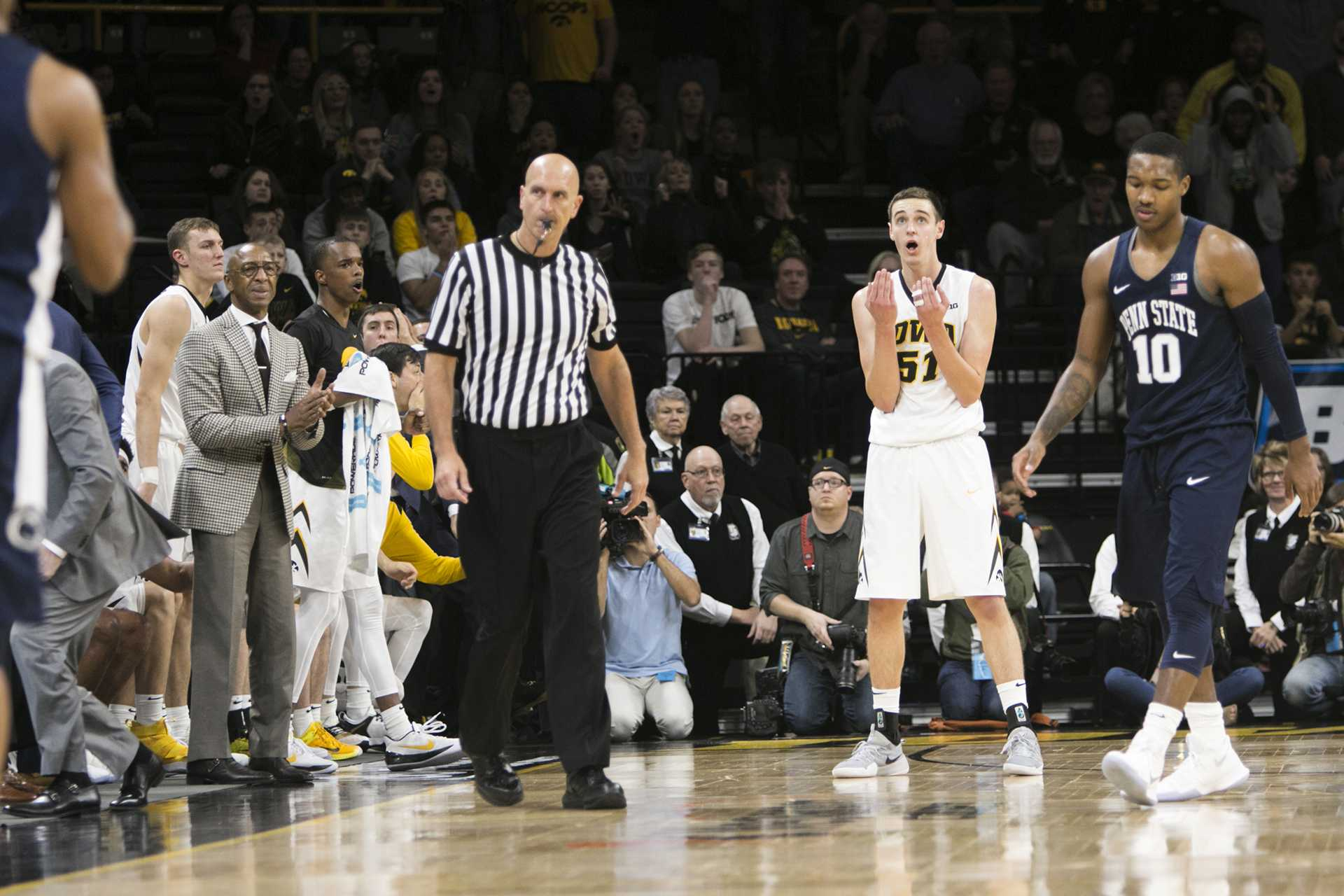 Iowa forward Nicholas Baer reacts to being called for a foul during an Iowa/Penn State men's basketball game in Carver-Hawkeye Arena on Saturday, Dec. 2, 2017. The Nittany Lions defeated the Hawkeyes, 77-73. (Joseph Cress/The Daily Iowan)