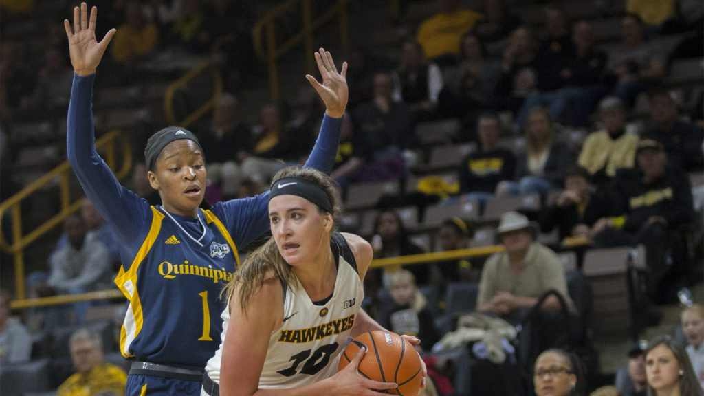 Iowa+center+Megan+Gustafson+during+the+Iowa%2FQuinnipiac+basketball+game+at+Carver-Hawkeye+Arena+on+Friday%2C+Nov.+10%2C+2017.+The+Hawkeyes+defeated+the+Bobcats%2C+83-67%2C+for+head+coach+Lisa+Bluder%27s+700+career+win.+%28Lily+Smith%2FThe+Daily+Iowan%29