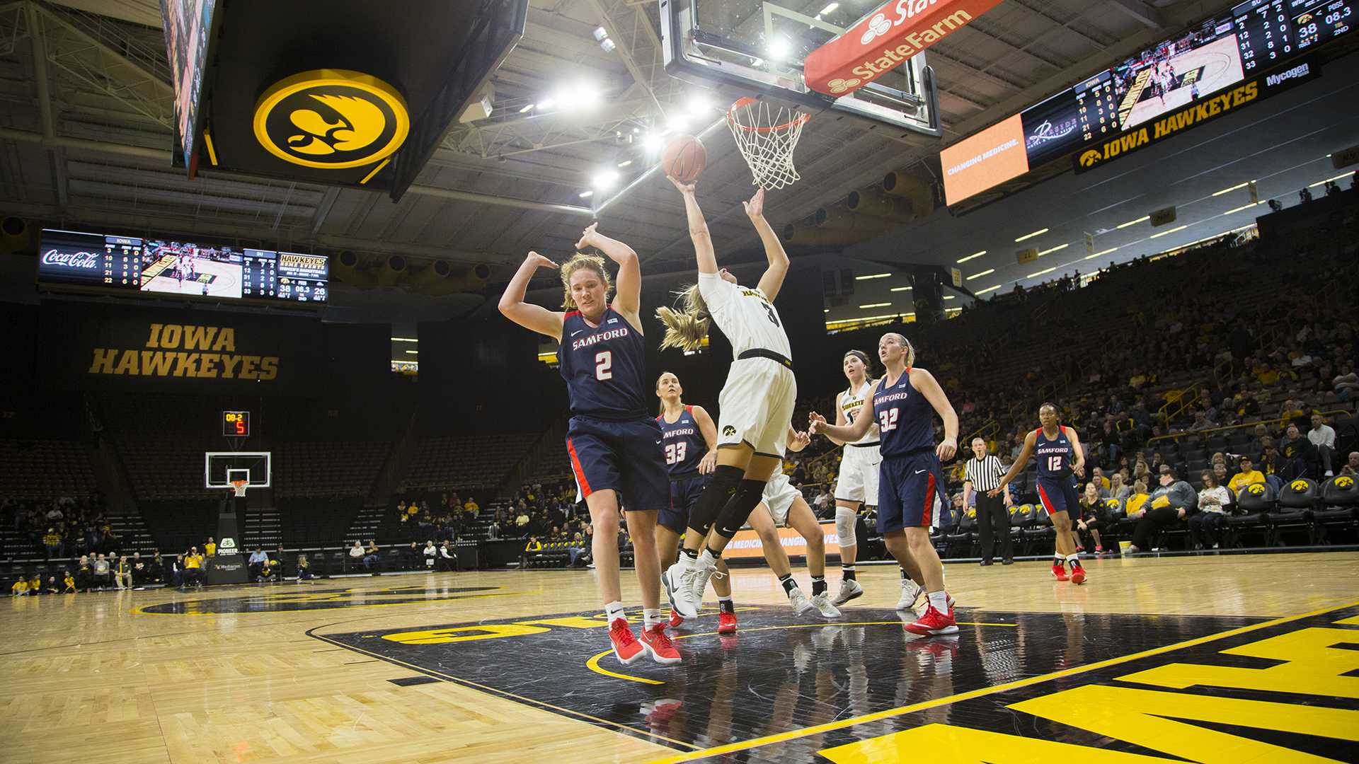 Iowa Makenzie Meyer takes a shot during the Iowa/Samford basketball game at Carver-Hawkeye Arena on Sunday, Dec. 3, 2017. The Hawkeyes defeated the Bulldogs, 80-59. (Lily Smith/The Daily Iowan)