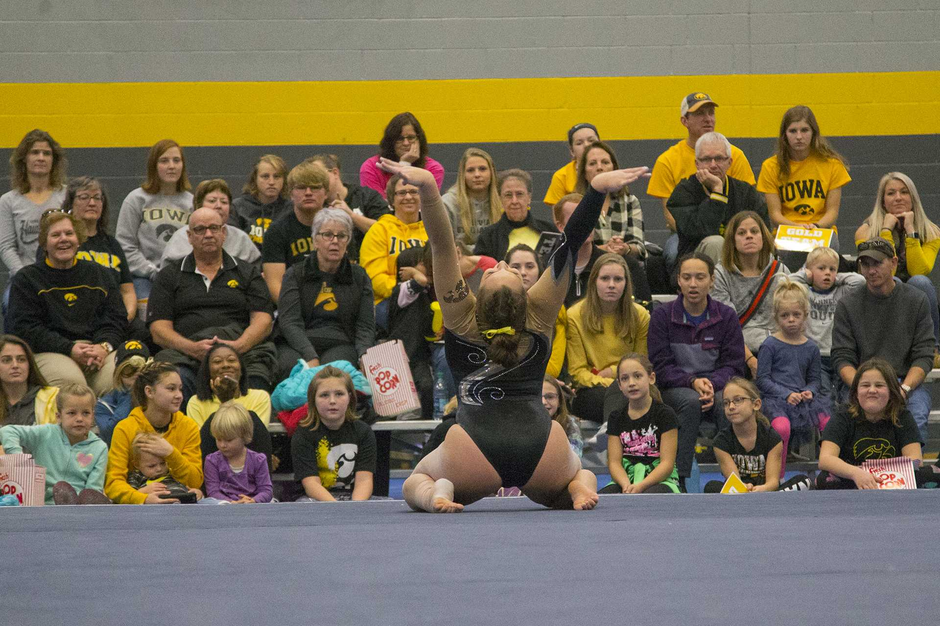 Iowa sophomore Breanna Fitzke performs on the floor during the Black and Gold Intrasquad meet at the Field House on Saturday, Dec. 2, 2017.  The Gold team defeated the Black team, 13-7. (Lily Smith/The Daily Iowan)