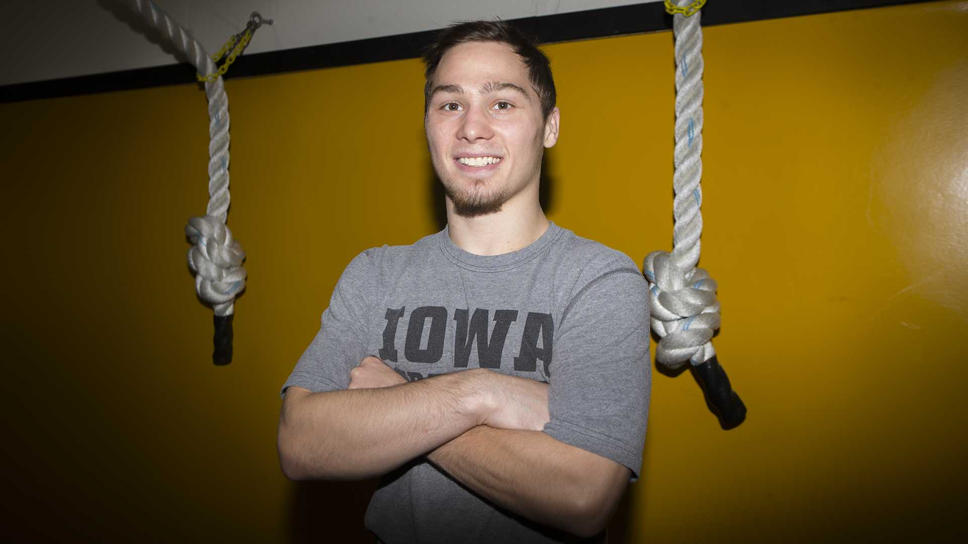 Spencer Lee poses for a portrait during Wrestling Media Day at Carver-Hawkeye Arena on Wednesday, Nov. 8, 2017.   (Lily Smith/The Daily Iowan)