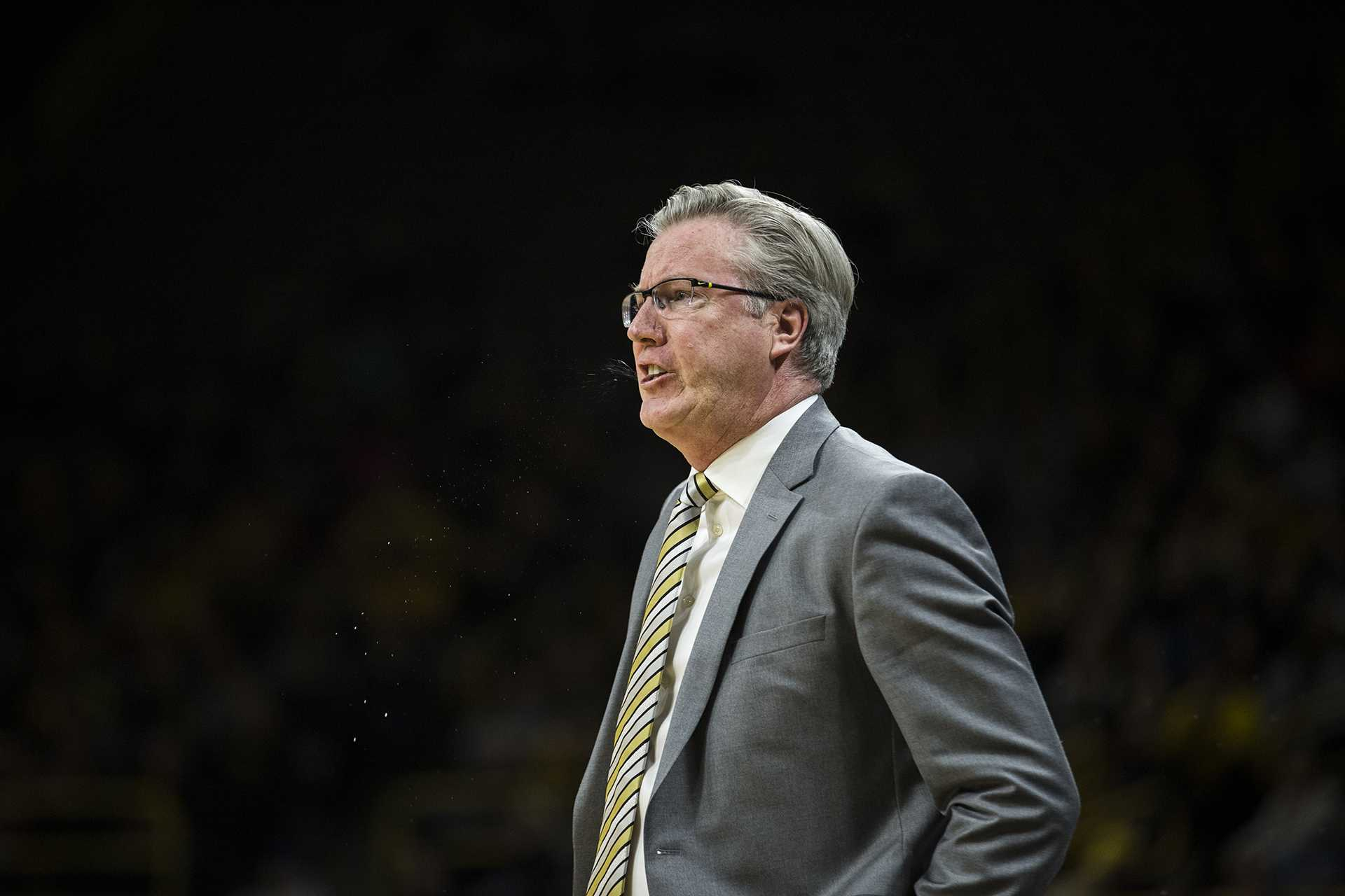 Iowa head coach Fran McCaffery reacts to a call by the referee during the NCAA basketball game between Iowa and Michigan at Carver-Hawkeye Arena on Tuesday, Jan. 2, 2017. The Hawkeyes fell to the Wolverines 75-68. (Ben Allan Smith/The Daily Iowan)