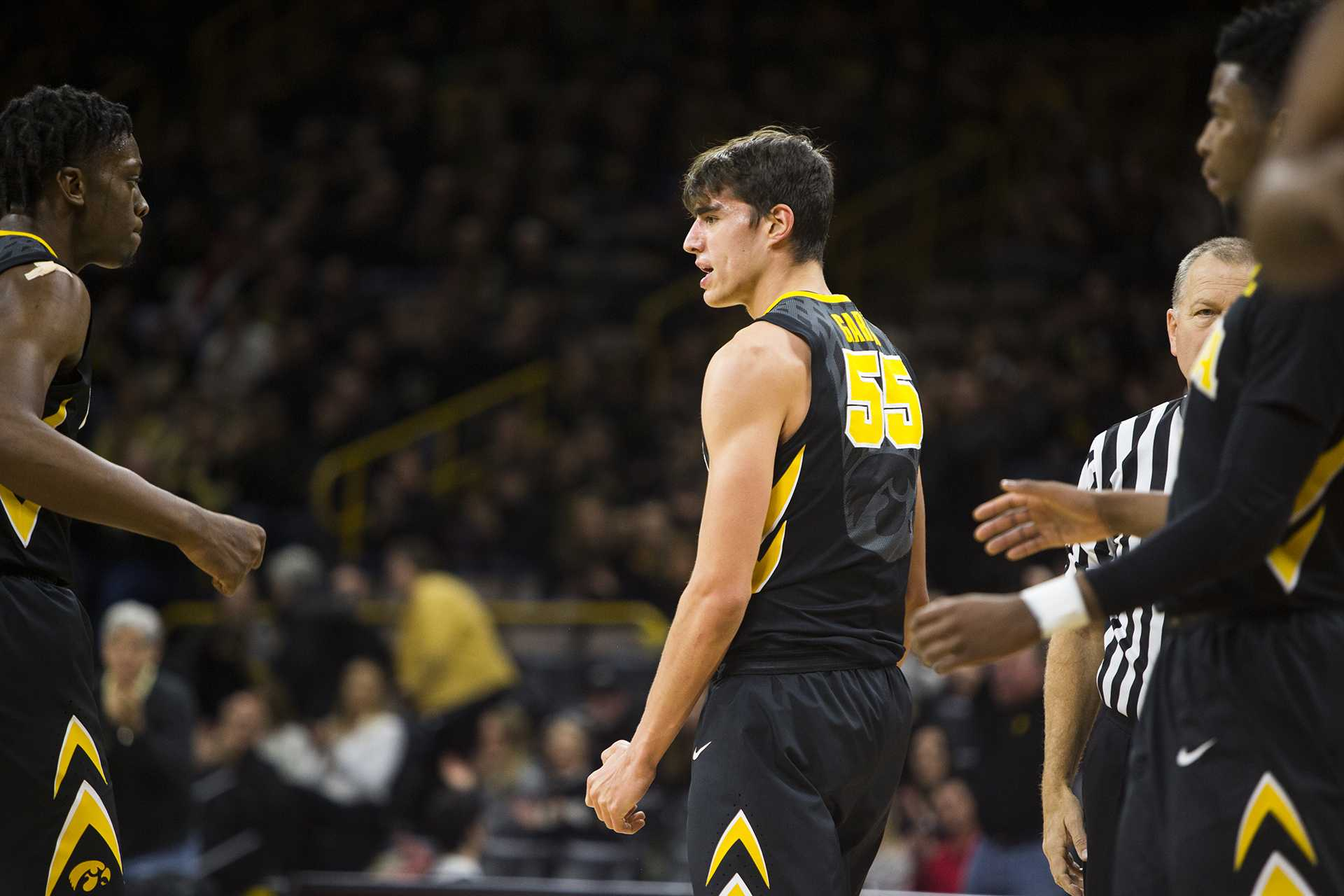 Iowa forward Luka Garza reacts after drawing a foul during an Iowa/Ohio State men's basketball game in Carver-Hawkeye Arena on Thursday, Jan. 4, 2018. The Buckeyes defeated the Hawkeyes, 92-81. (Joseph Cress/The Daily Iowan)