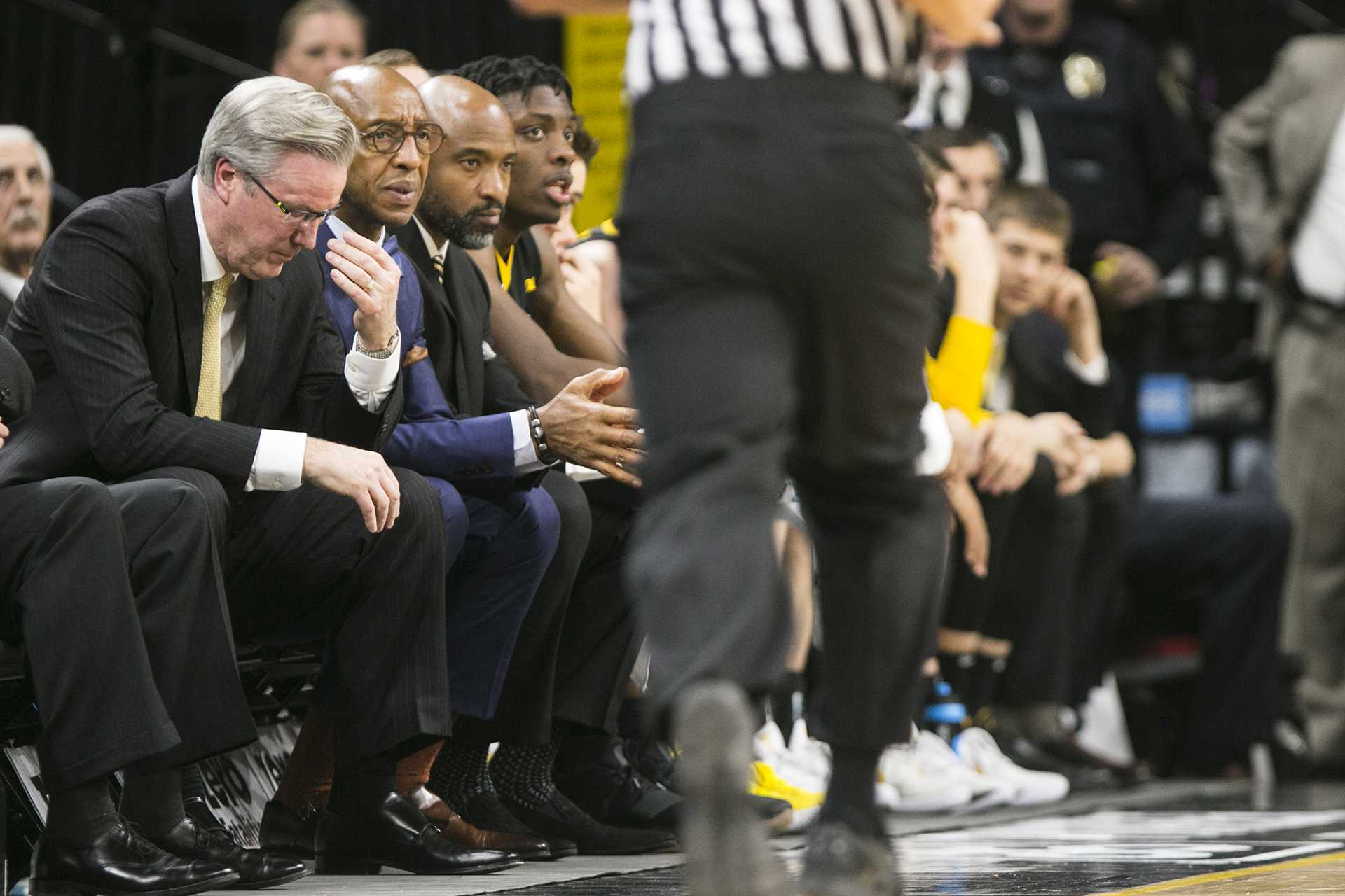 Iowa head coach Fran McCaffery reacts to a play during an Iowa/Ohio State men's basketball game in Carver-Hawkeye Arena on Thursday, Jan. 4, 2018. The Buckeyes defeated the Hawkeyes, 92-81. (Joseph Cress/The Daily Iowan)