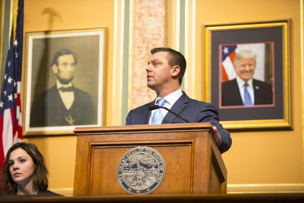 Iowa Senate Majority Leader Sen. Jack Whitver, R-Ankeny, speaks during Gov. Reynolds first Condition of the State address in the Iowa State Capitol in Des Moines on Tuesday, Jan. 9, 2018.