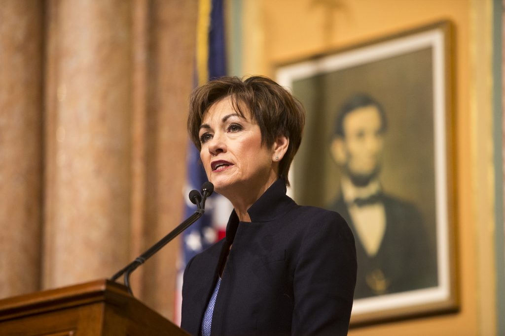 Iowa Gov. Kim Reynolds speaks during her first Condition of the State address in the Iowa State Capitol in Des Moines on Tuesday, Jan. 9, 2018.