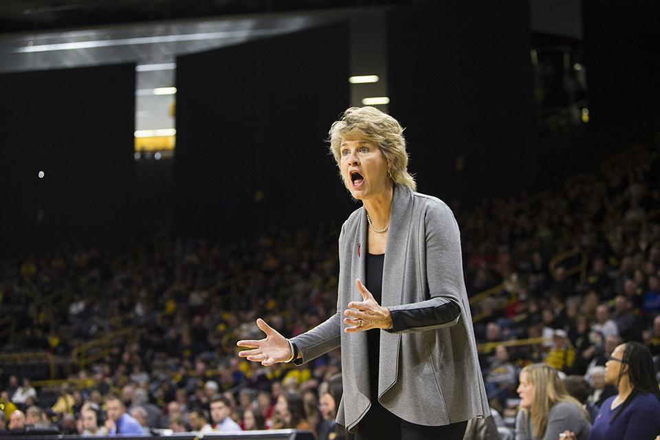 Iowa head coach Lisa Bluder reacts to a call during an Iowa/Purdue womens basketball game in Carver-Hawkeye Arena on Saturday, Jan. 13, 2018. The Boilermakers defeated the Hawkeyes, 76-70. (Joseph Cress/The Daily Iowan)