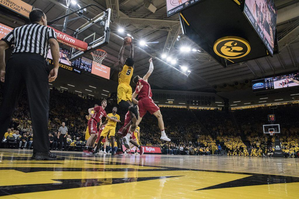 Iowa+forward+Tyler+Cook+%285%29+dunks+the+ball+over+Wisconsin%27s+Ethan+Happ+%2822%29+during+the+NCAA+men%27s+basketball+game+between+Iowa+and+Wisconsin+at+Carver-Hawkeye+Arena+on+Tuesday%2C+Jan.+23%2C+2018.+The+Hawkeyes+are+going+into+the+game+with+a+conference+record+of+1-7.+Iowa+went+on+to+defeat+Wisconsin+85-67.+%28Ben+Allan+Smith%2FThe+Daily+Iowan%29