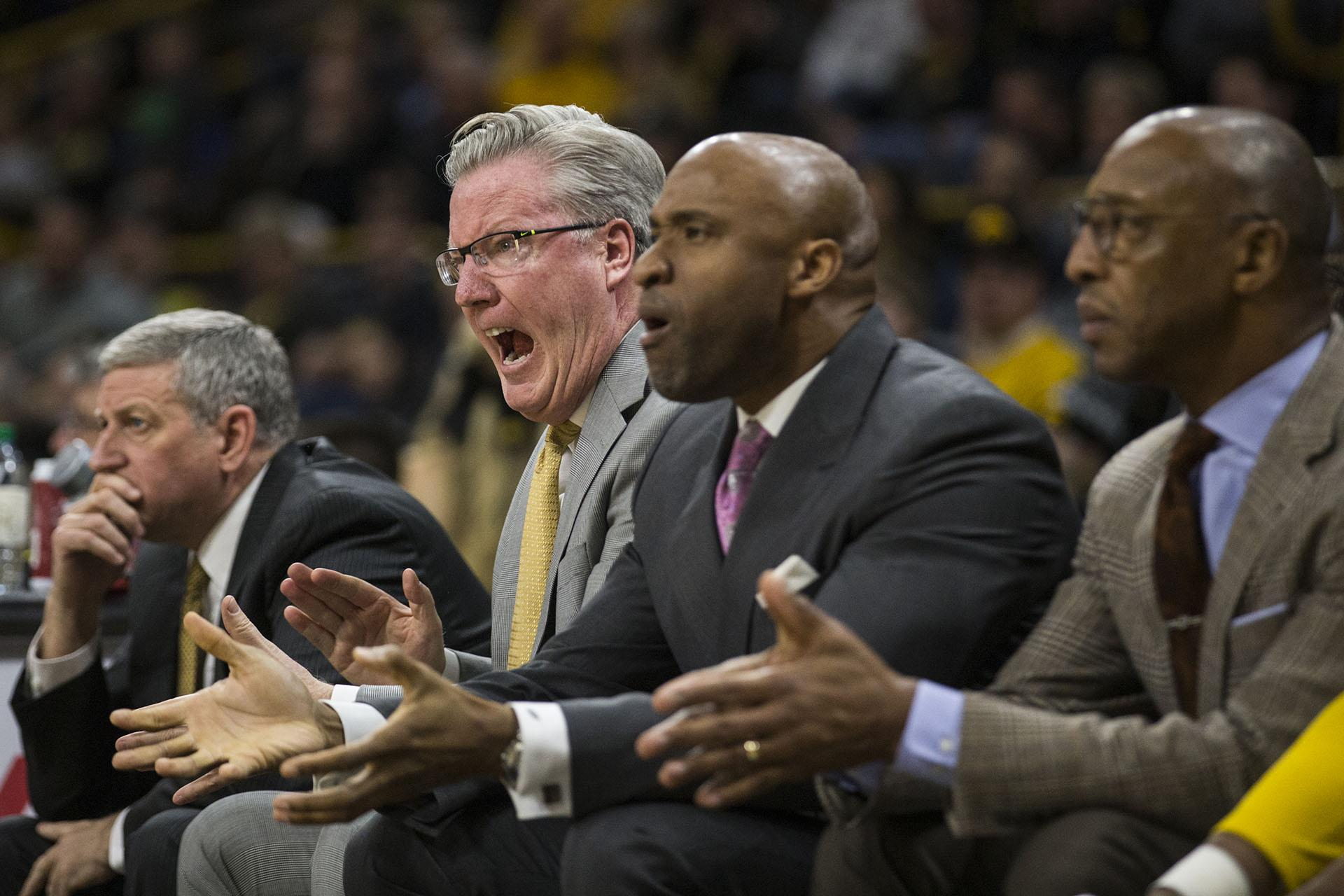 Iowa head coach Fran McCaffery yells to an Iowa player during the NCAA men's basketball game between Iowa and Minnesota at Carver-Hawkeye Arena on Tuesday, Jan. 30, 2018. The Hawkeyes are going into the game with a Big Ten conference record of 2-8. Iowa went on to defeat the Golden Gophers 94-80. (Ben Allan Smith/The Daily Iowan)