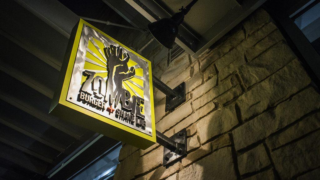 The Zombie Burger sign as seen at their Iowa City location on Monday, Jan 22. 2017. This location is expected to close in the near future. (James Year/The Daily Iowan)