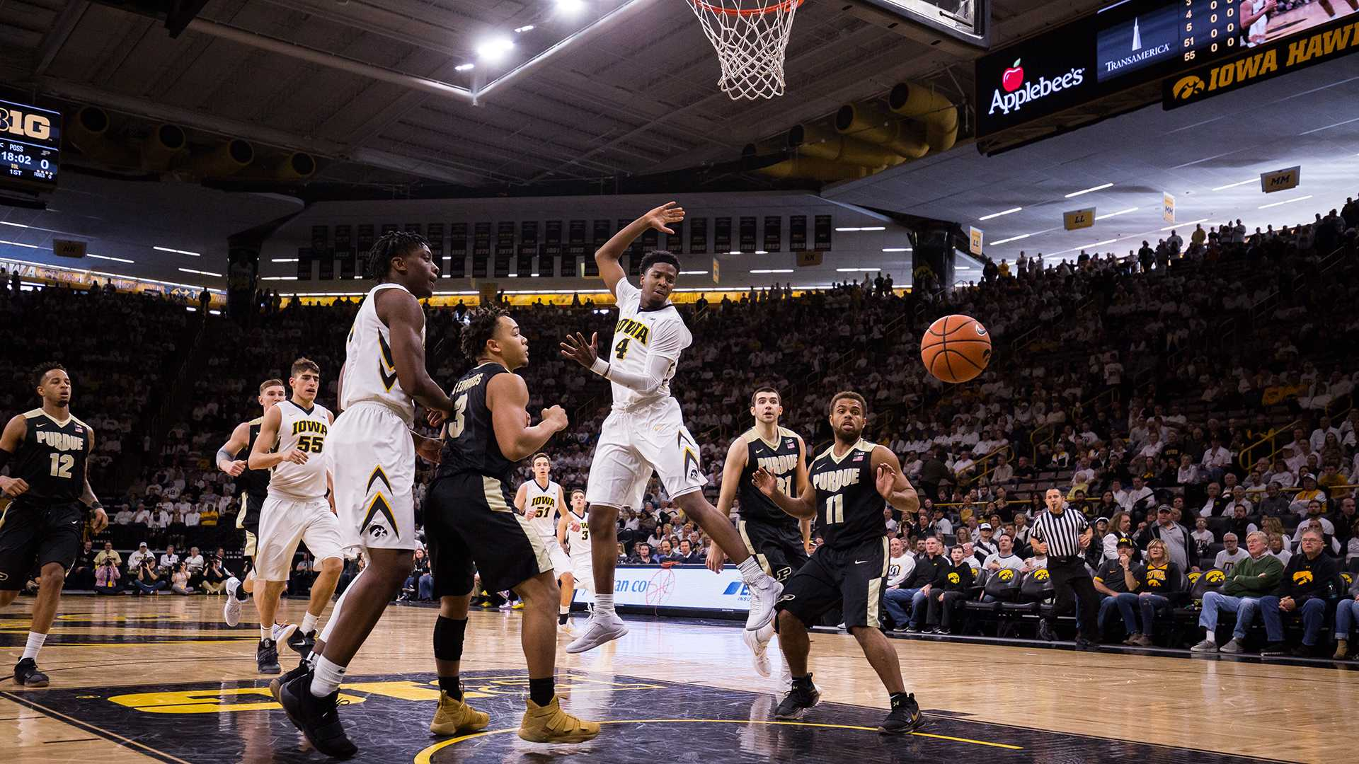 Iowa guard Isaiah Moss watches the ball go out of bounds during a game against Purdue University on Saturday, Jan. 20, 2018. The Boilermakers defeated the Hawkeyes 87-64. (David Harmantas/The Daily Iowan)