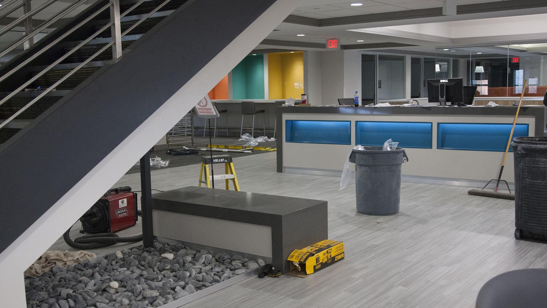 Construction finishes at the new library on the third floor of the Tippie College of Business. The new third floor library, set to open in two days, will feature many groups study spaces and a new cafe area for students. (Katie Goodale/The Daily Iowan)