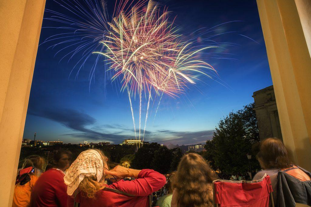 Jazz Fest spectators and local residents enjoy the fireworks at the Old Capital Building on Friday June 30th 2017. (James Year/Daily Iowan)