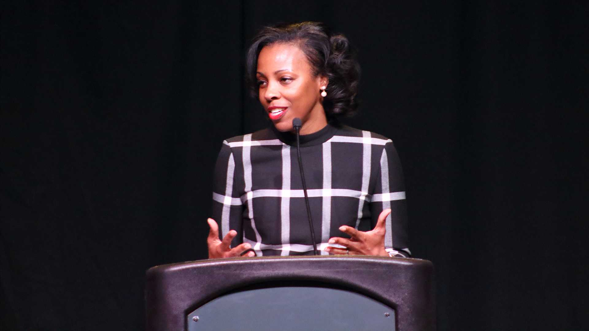 Interim Chief Diversity Officer Lena Hill speaks in the IMU on Wednesday, Jan. 17, 2018. The presentation gave updates on diversity and statistics about underrepresented UI students, faculty, and staff. (Ashley Morris/The Daily Iowan)