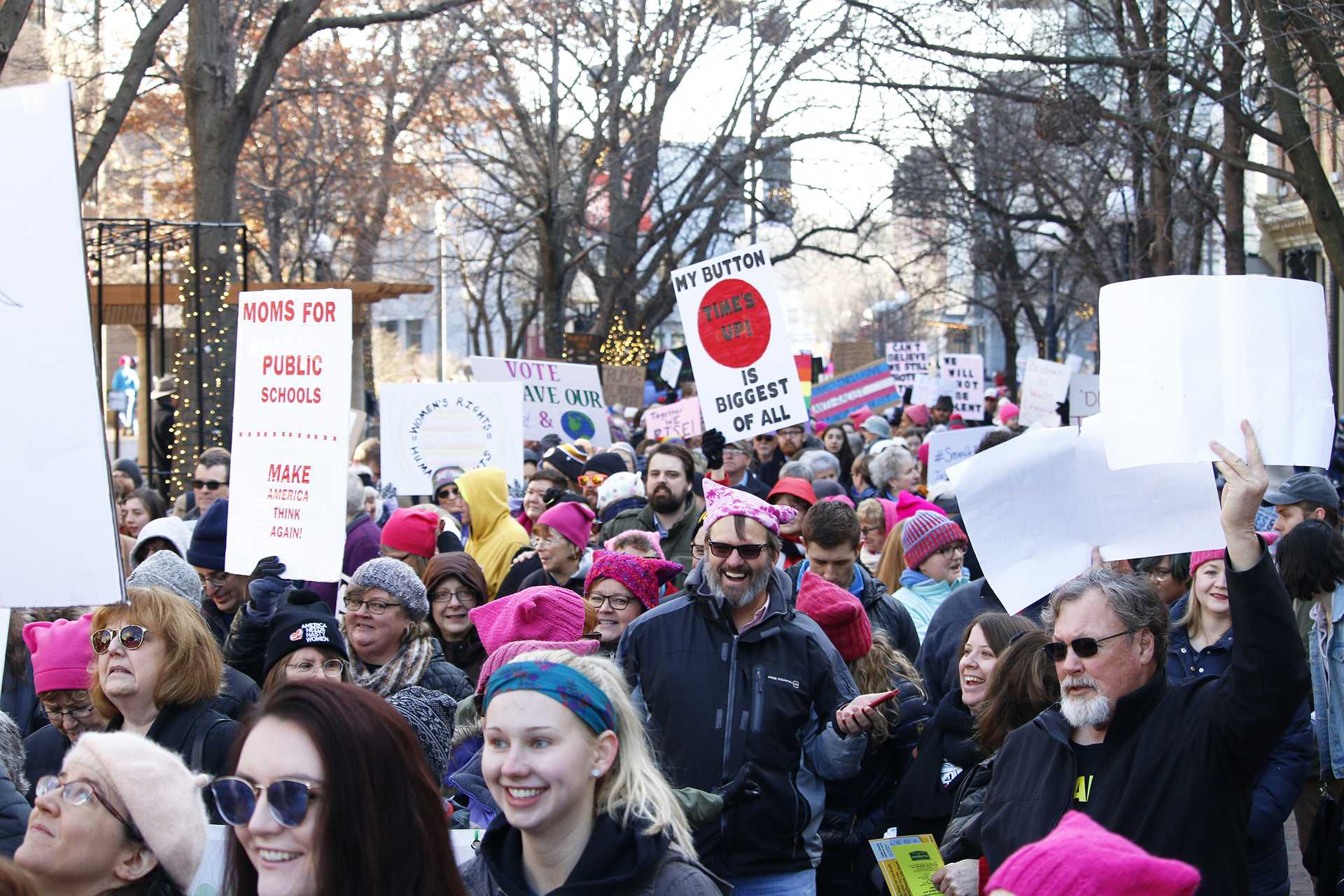 Protesters gather during the Women's March on January 20, 2018. Protesters gathered at the Ped Mall listen to speakers and march for female empowerment. (Katina Zentz/The Daily Iowan)