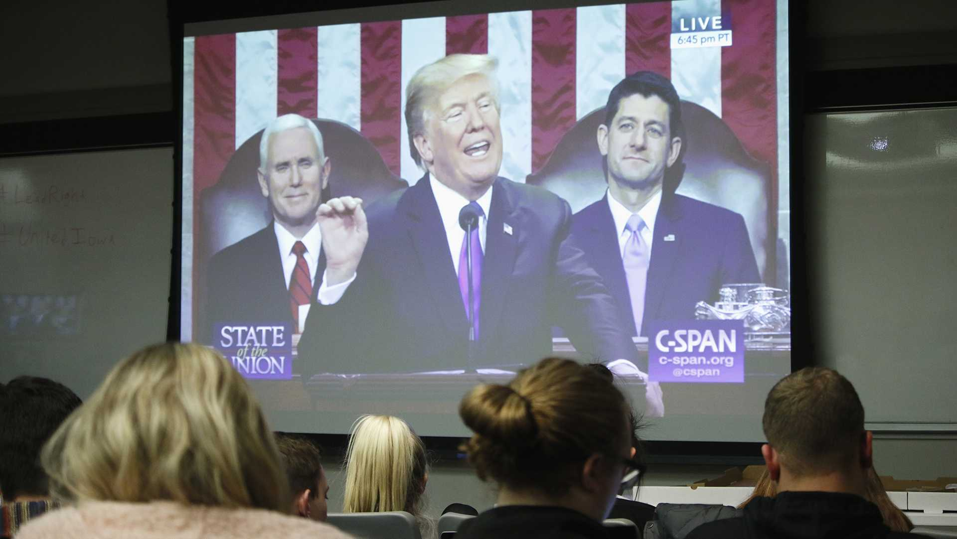 Students watch the State of the Union Address on Tuesday, Jan. 30, 2018 at the Pappajohn Business Building. The president discussed events that occurred throughout his first year of presidency. (Katina Zentz/ The Daily Iowan)