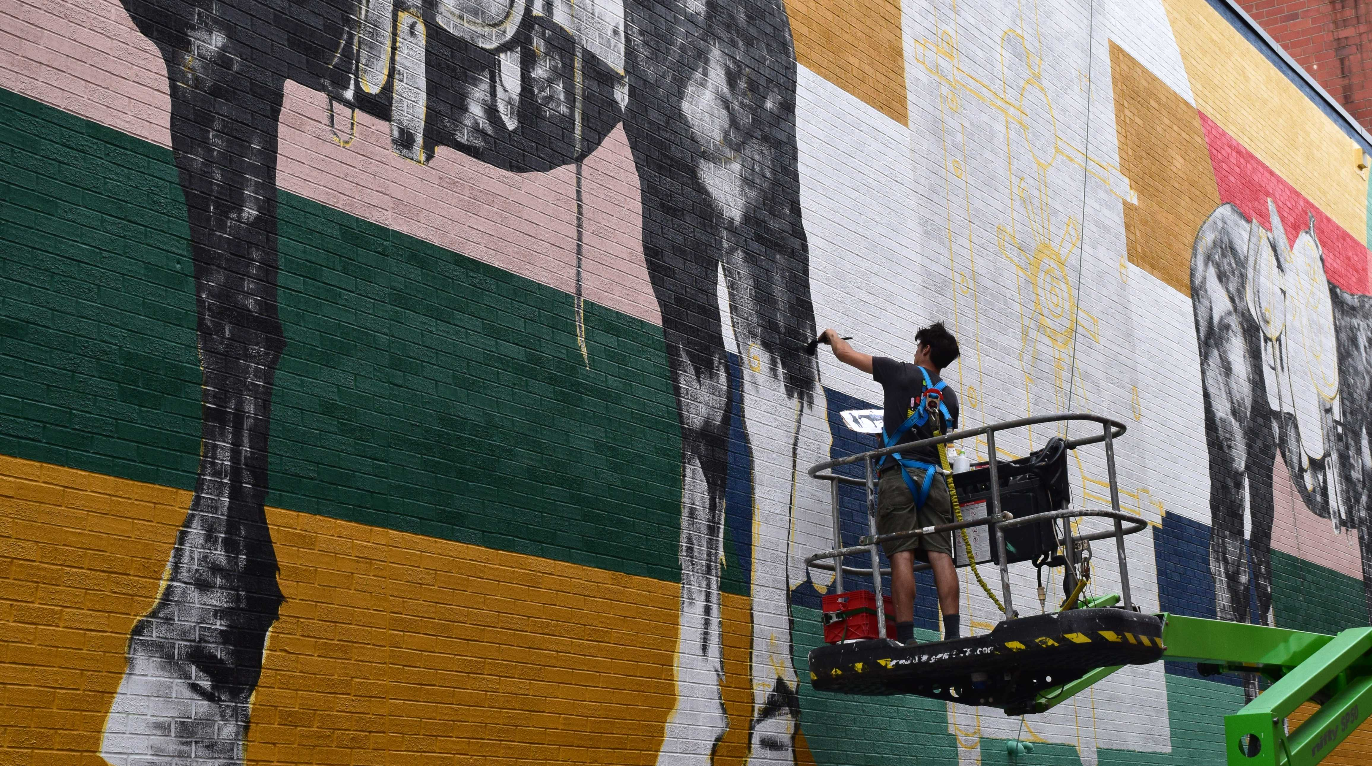 Iowa City-based artist Thomas Agran paints a mural on Wednesday. He has been commissioned by MidWestOne Bank to complete the mural in its alley. (Hayley Anderson/The Daily Iowan)