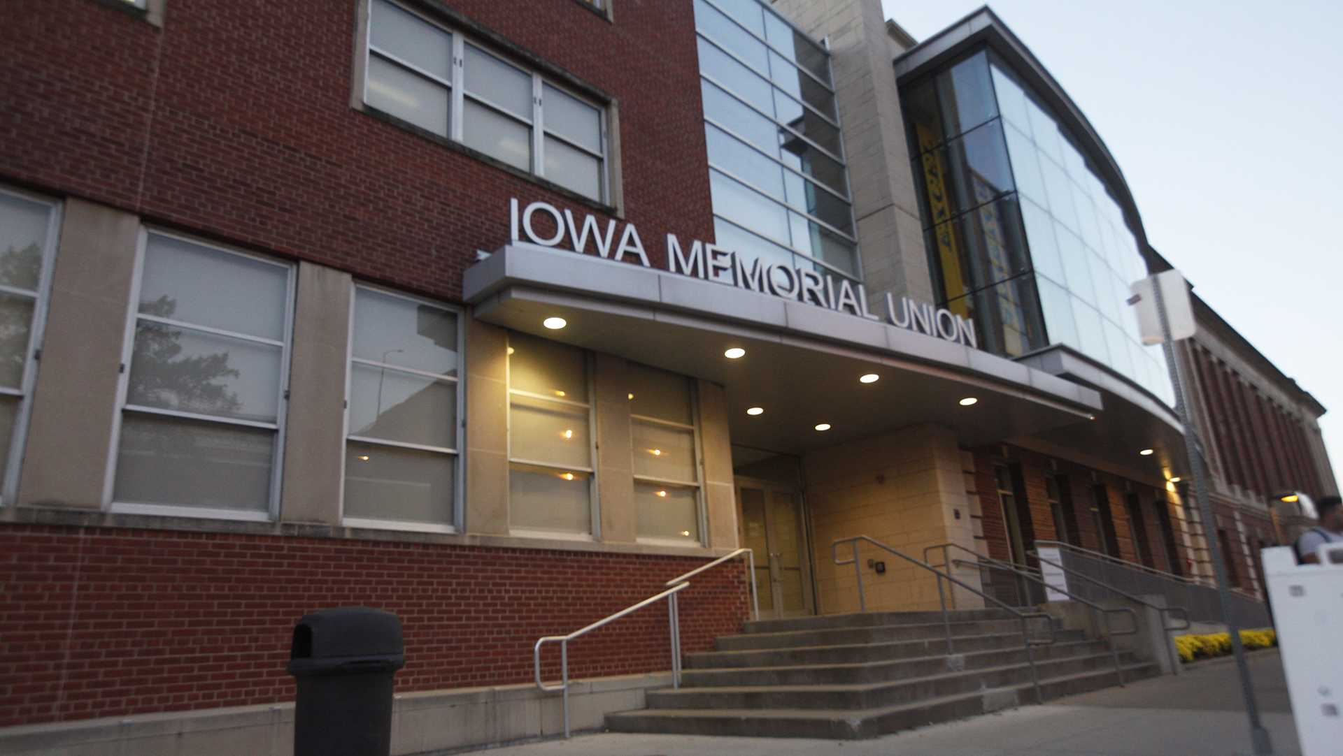 The Iowa Memorial Union glows in the evening Monday, Oct. 9 2017.