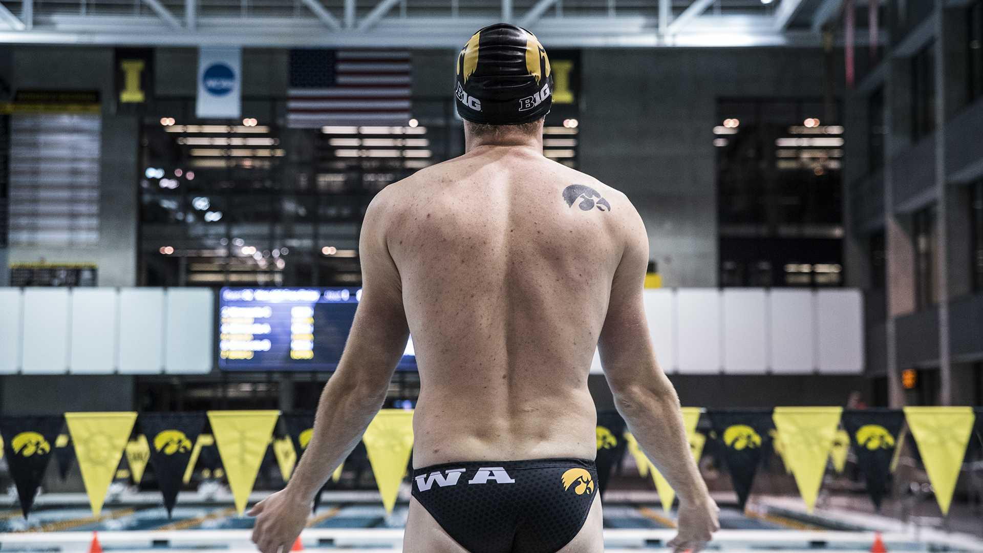 during the Senior Day meet between Iowa and Minnesota at the Campus Recreation and Wellness Center on Friday, Oct. 27, 2017. The Iowa men's swimming team beat the 21st ranked Minnesota Golden Gophers 168-132. (Ben Smith/The Daily Iowan)