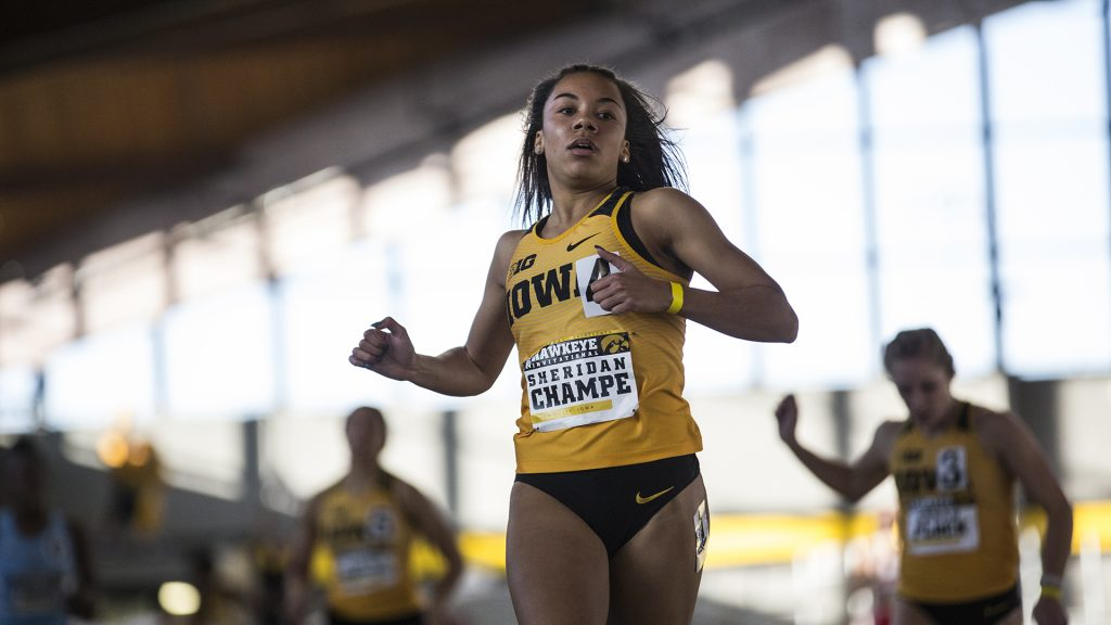 Iowa+senior+Sheridan+Champe+finishes+first+in+the+Women%27s+200+Meter+Dash+during+the+Hawkeye+Invitational+indoor+track+meet+at+the+Campus+Recreation+Building+on+Satuday%2C+Jan.+13%2C+2017.+