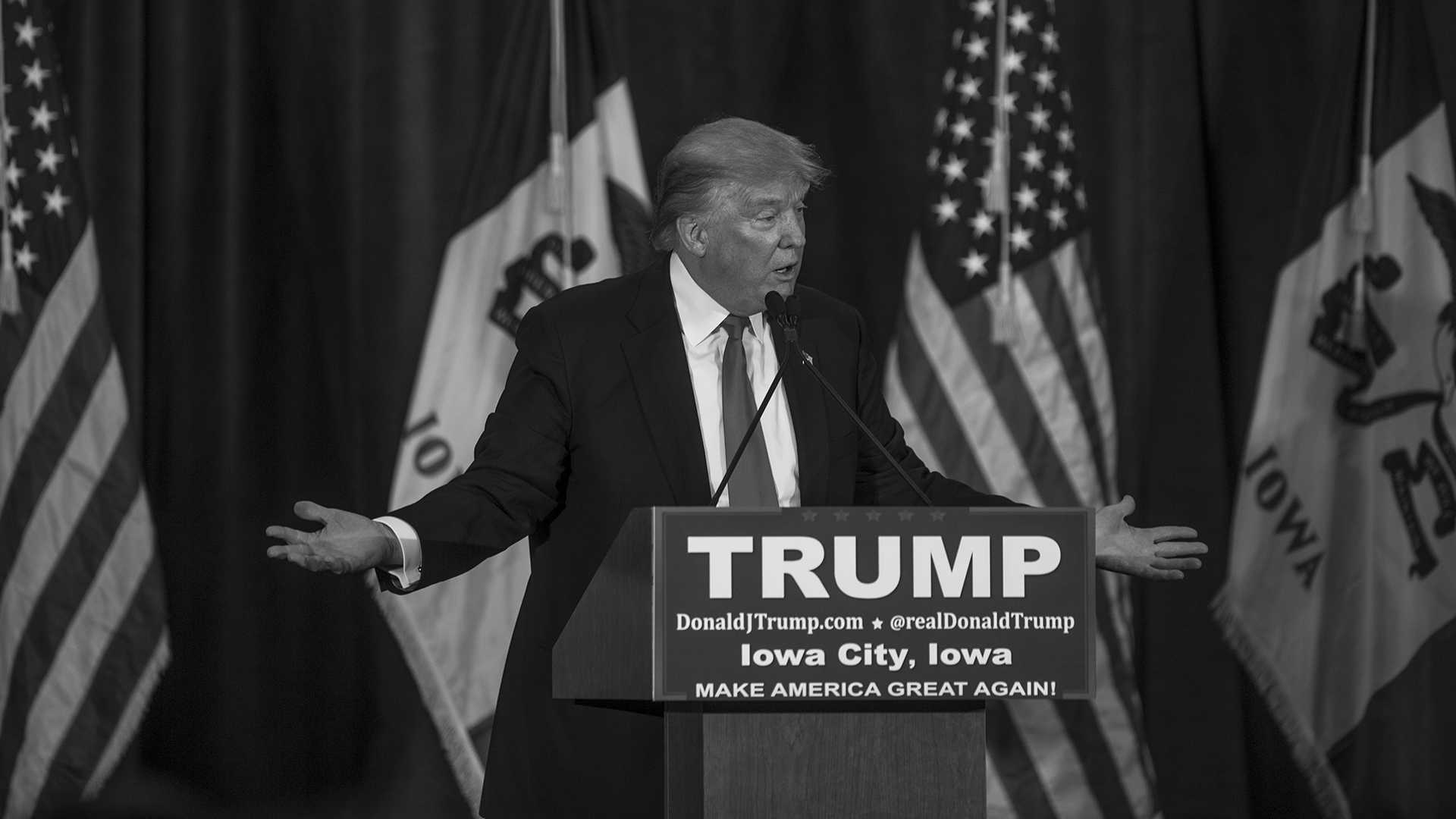 Donald Trump speaks to a crowd at the University of Iowa Field house on Tuesday Jan 26, 2016. Trump is currently tied in Iowa with Ted Cruz. (The Daily Iowan/Jordan Gale)