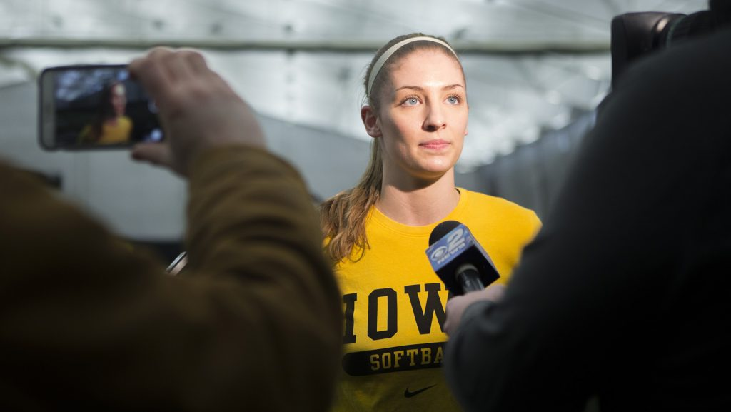 Iowa+pitcher+Allison+Doocy+speaks+to+the+media+during+softball+media+day+at+the+Hawkeye+Tennis+and+Recreation+Complex+on+Thursday%2C+Feb.+1%2C+2018.+The+Hawkeyes+begin+the+regular+season+on+Feb.+9+against+UIC%2C+in+Lafayette%2C+LA.+%28Lily+Smith%2FThe+Daily+Iowan%29