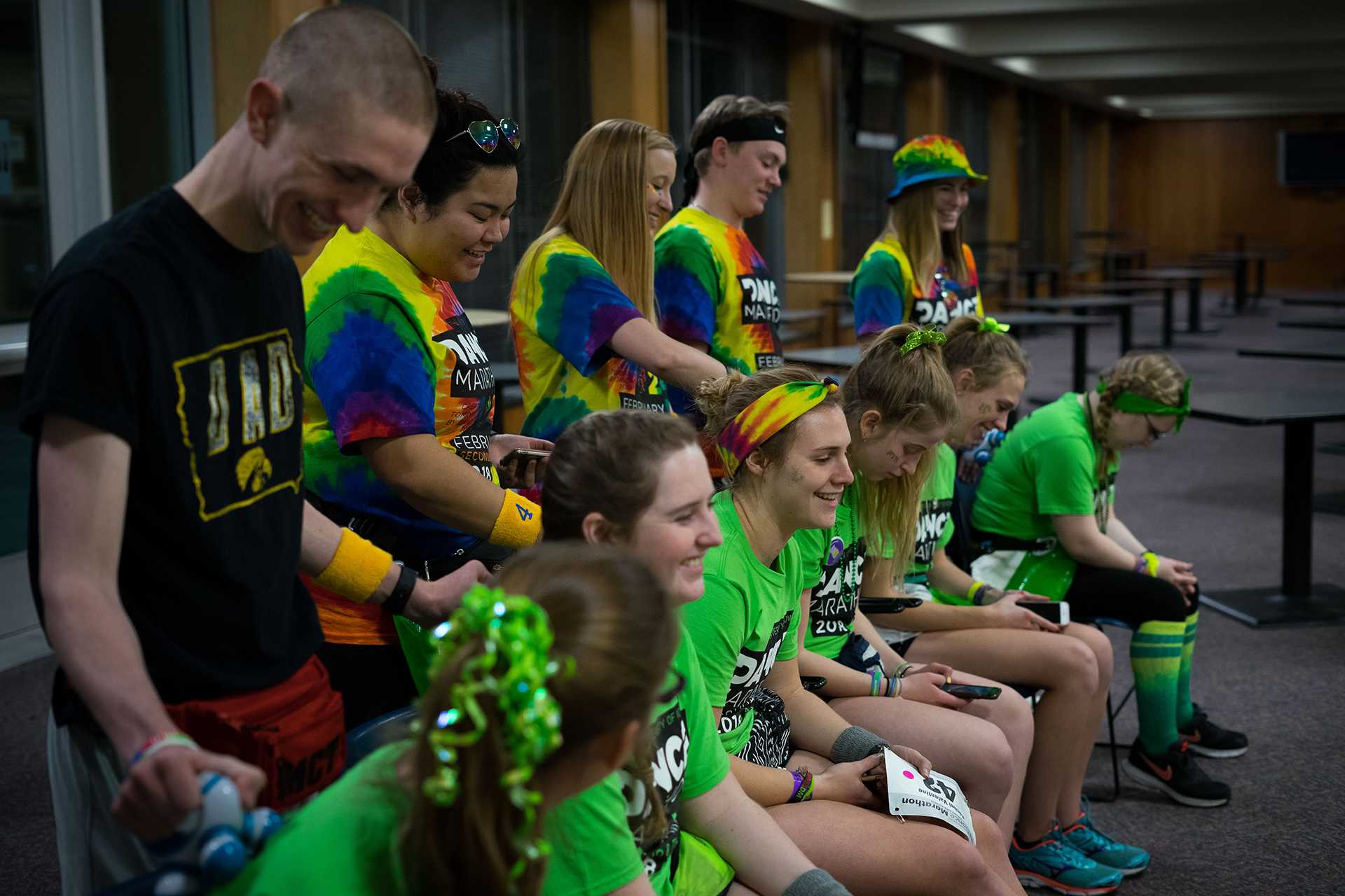 Morale Captain Assistants give participants back massages at the 24th Annual Dance Marathon put on by the University of Iowa on Saturday, Feb. 3, 2018. (Matthew Finley/The Daily Iowan)