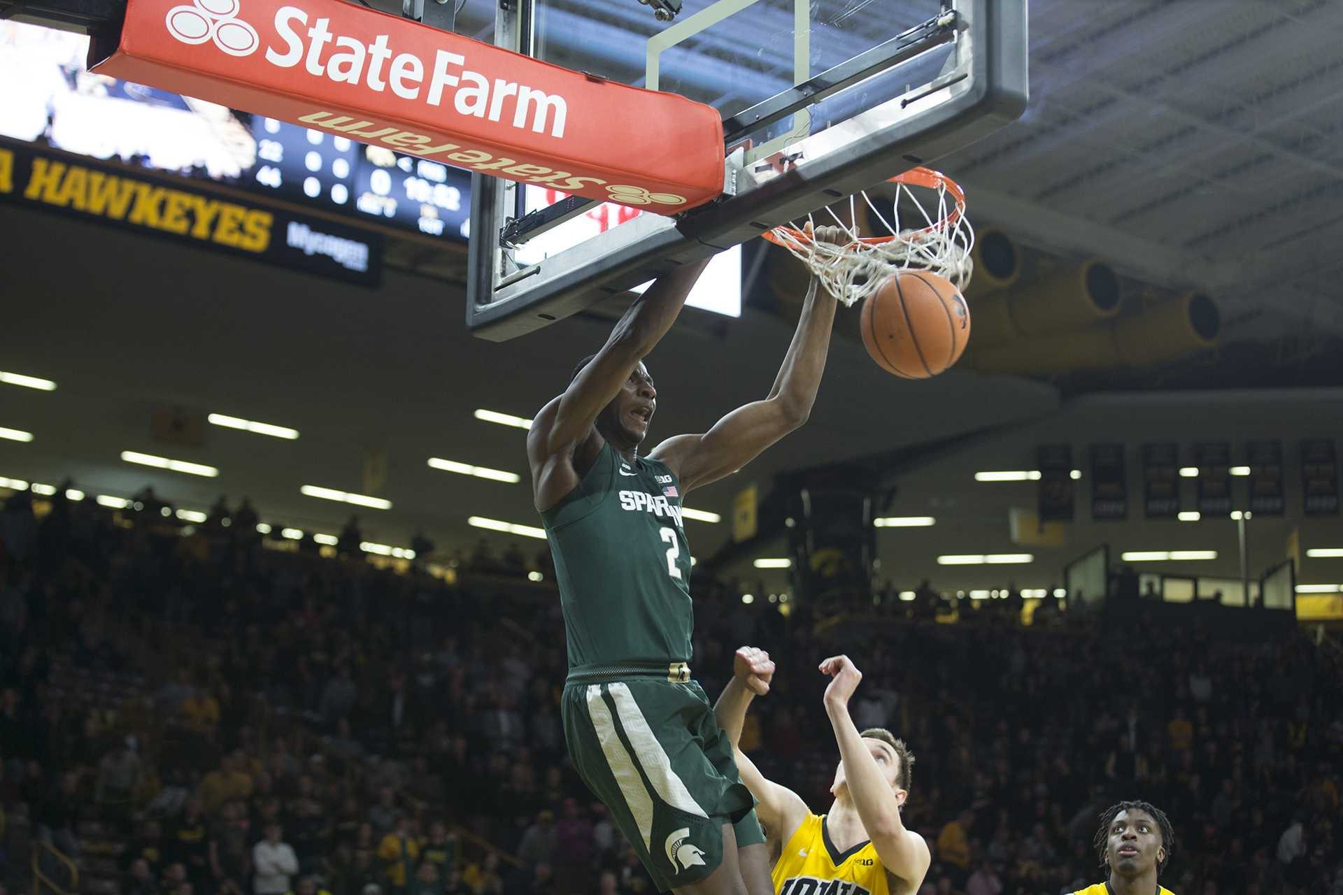 Michigan State F Jaren Jackson dunks a ball during a basketball game between Iowa and Michigan State at Carver-Hawkeye Arena on Tuesday, Feb. 6, 2018. The Hawkeyes were defeated by the visiting Spartans, 96-93. (Shivansh Ahuja/The Daily Iowan)