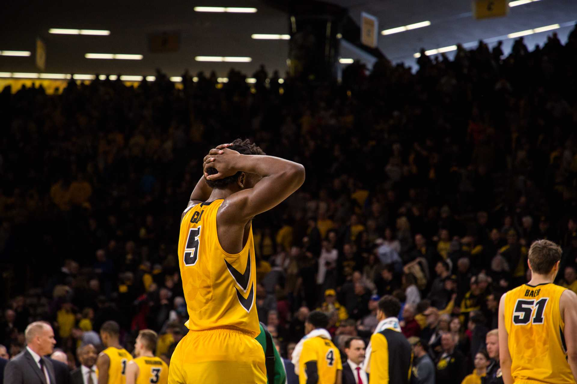 Iowa forward Tyler Cook reacts after the final buzzer against Indiana University at Carver-Hawkeye Arena on Saturday, Feb. 17, 2018. The Hoosiers defeated the Hawkeyes 84 to 82. (David Harmantas/The Daily Iowan)