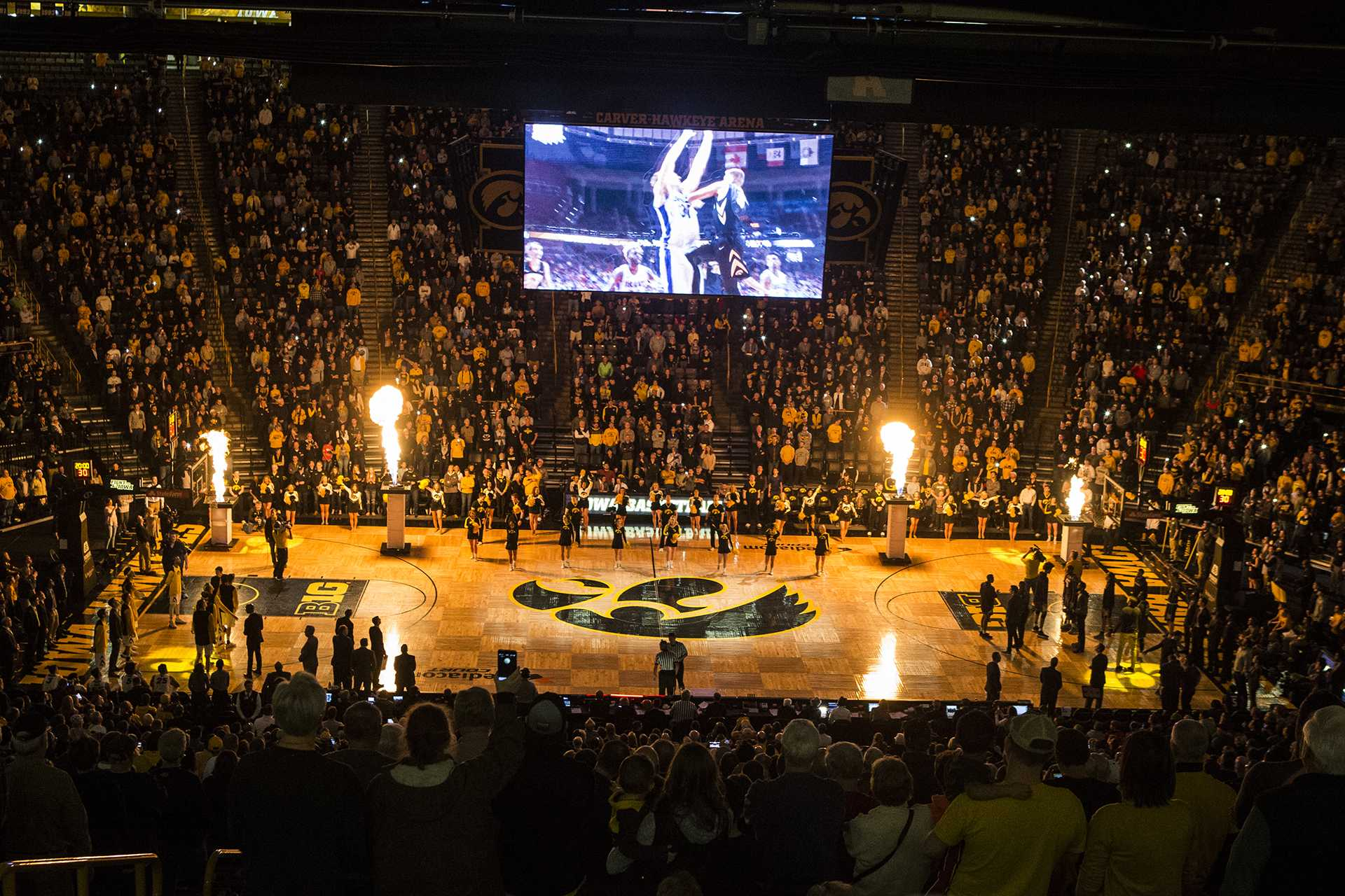 during the Senior Day men's basketball game between Iowa and Northwestern at Carver-Hawkeye Arena on Sunday, Feb. 25, 2018. The Hawkeyes defeated the Wildcats 77-70. (Ben Allan Smith/The Daily Iowan)