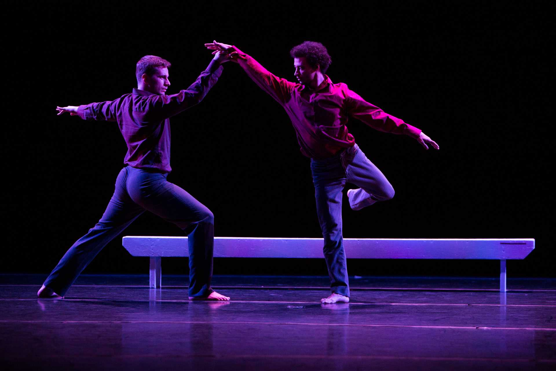 Undergraduate and Graduate students in the University of Iowa College of Dance perform in the Faculty/Graduate Concert dance performance at Space Place Theater on Wednesday, Feb. 7, 2018 (David Harmantas/The Daily Iowan)