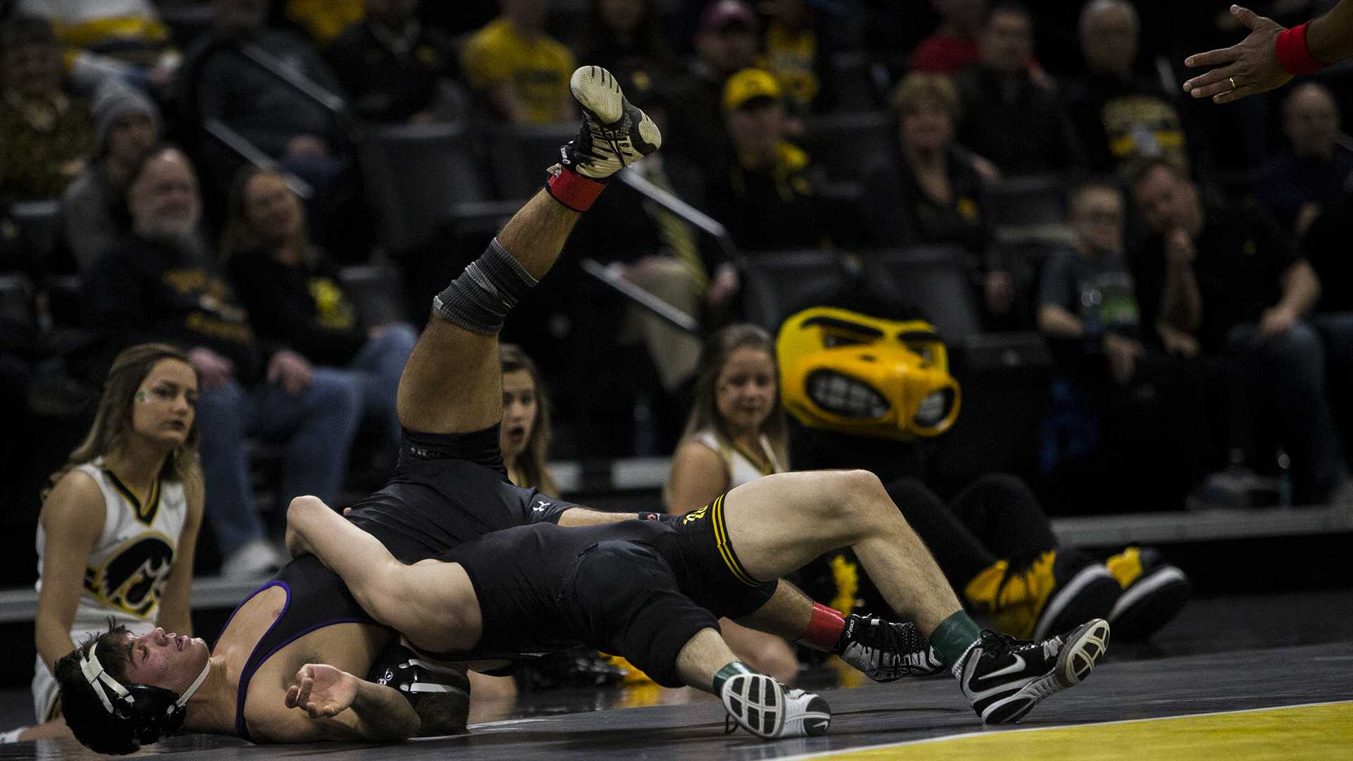 Iowa's #3 ranked 125 pound Spencer Lee wrestles Northwestern's #10 ranked Sebastian Rivera during the Iowa vs. Northwestern dual meet on Sunday, Feb. 4, 2018. The Hawkeyes defeated the wildcats 33-2. (Nick Rohlman/The Daily Iowan)