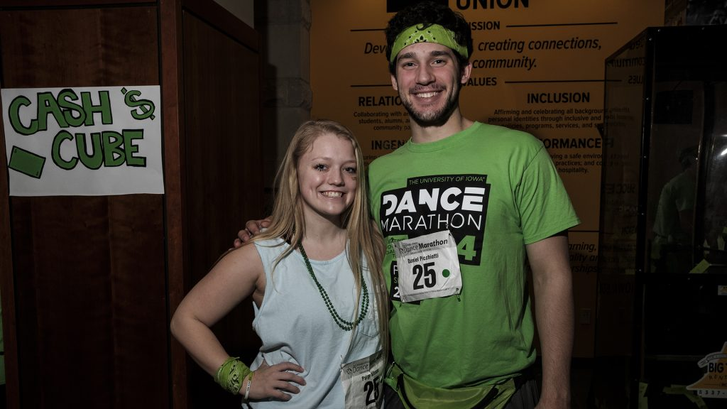 Daniel+Picchiotti+and+Paige+Allison+pose+for+a+portrait+during+Dance+Marathon+at+the+Iowa+Memorial+Union+on+Saturday%2C+Feb.+3%2C+2018.+%28Nick+Rohlman%2FThe+Daily+Iowan%29
